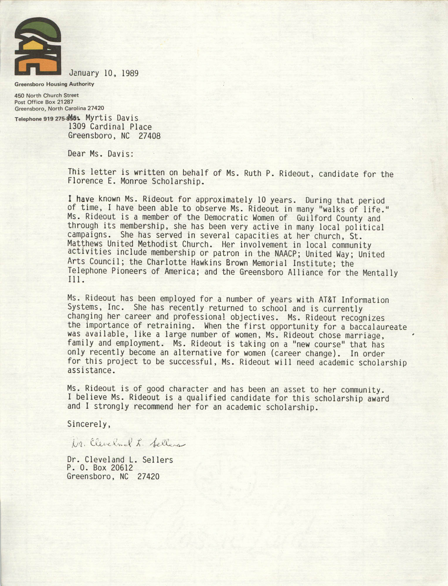 Letter from Cleveland Sellers to Myrtis Davis, January 10, 1989