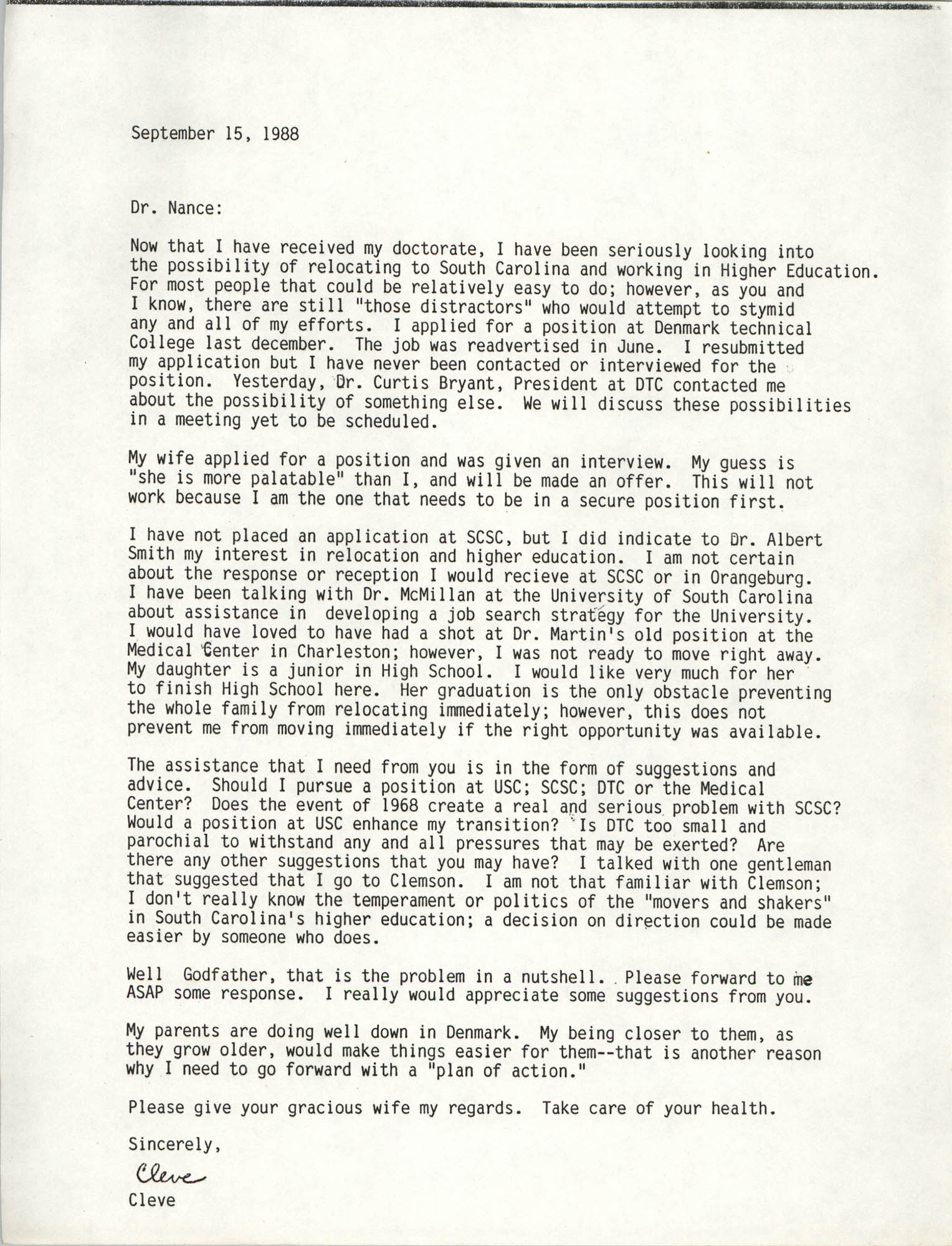 Letter from Cleveland Sellers to