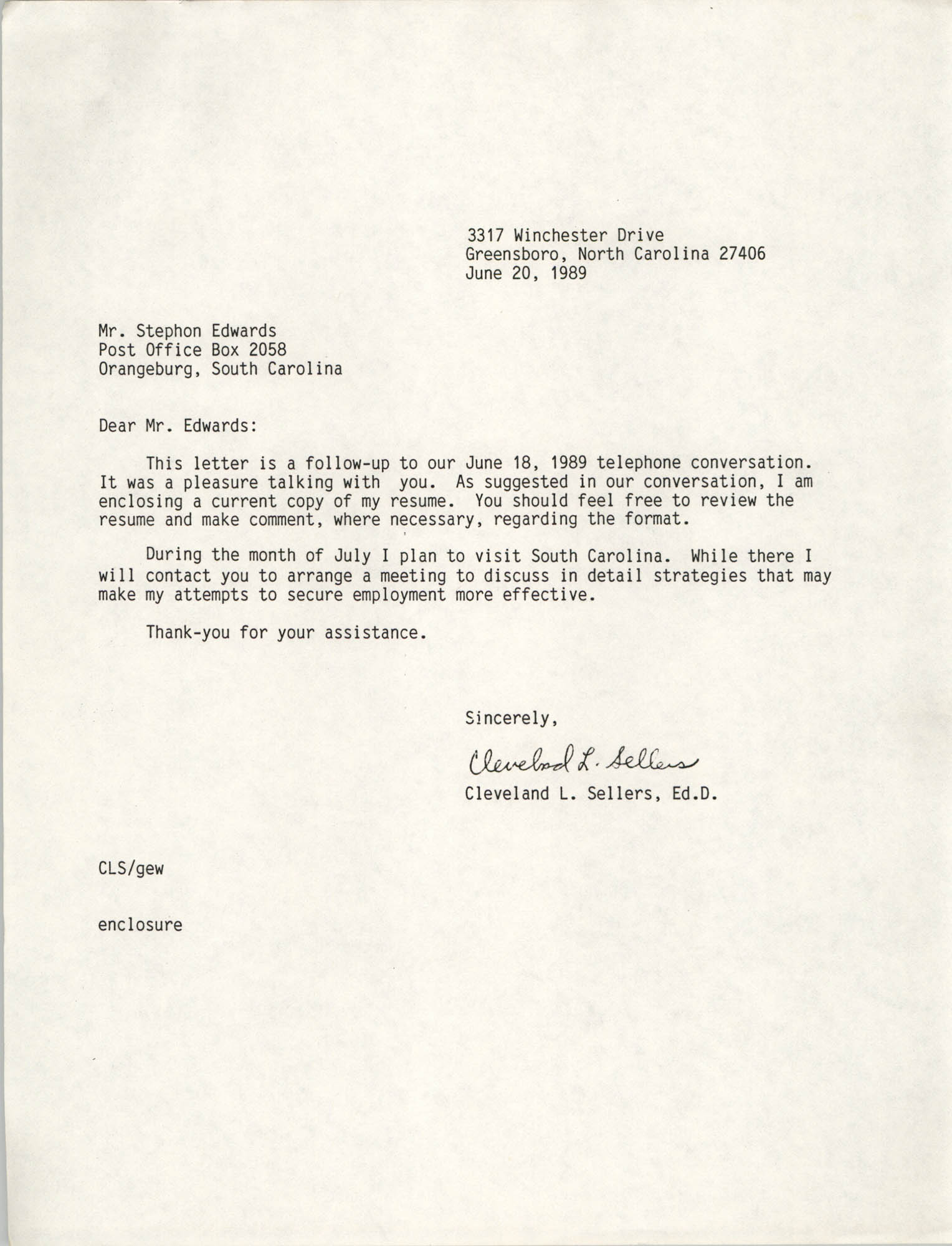 Letter from Cleveland Sellers to Stephon Edwards, June 20, 1989