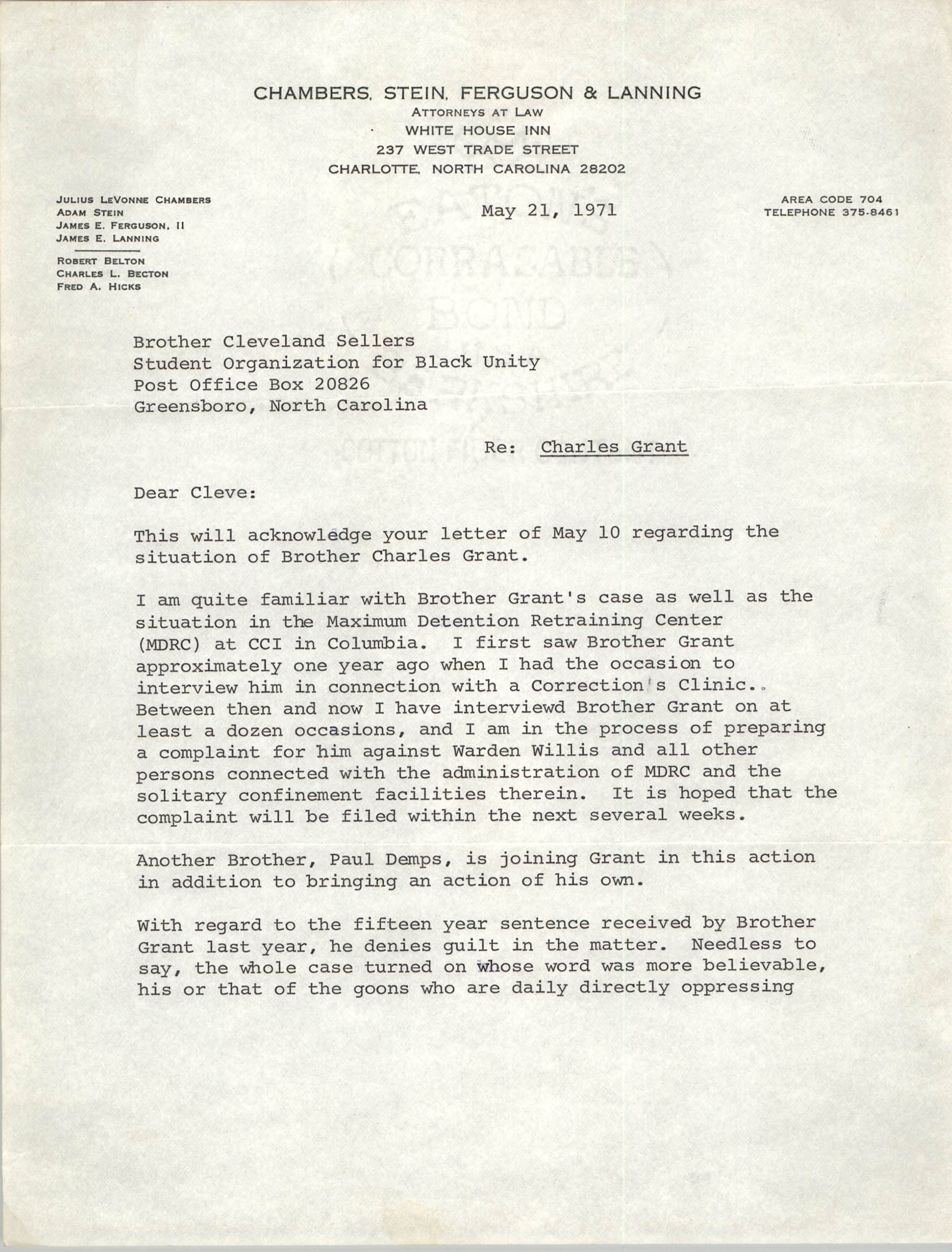 Letter from John R. Harper II to Cleveland Sellers, May 21, 1971