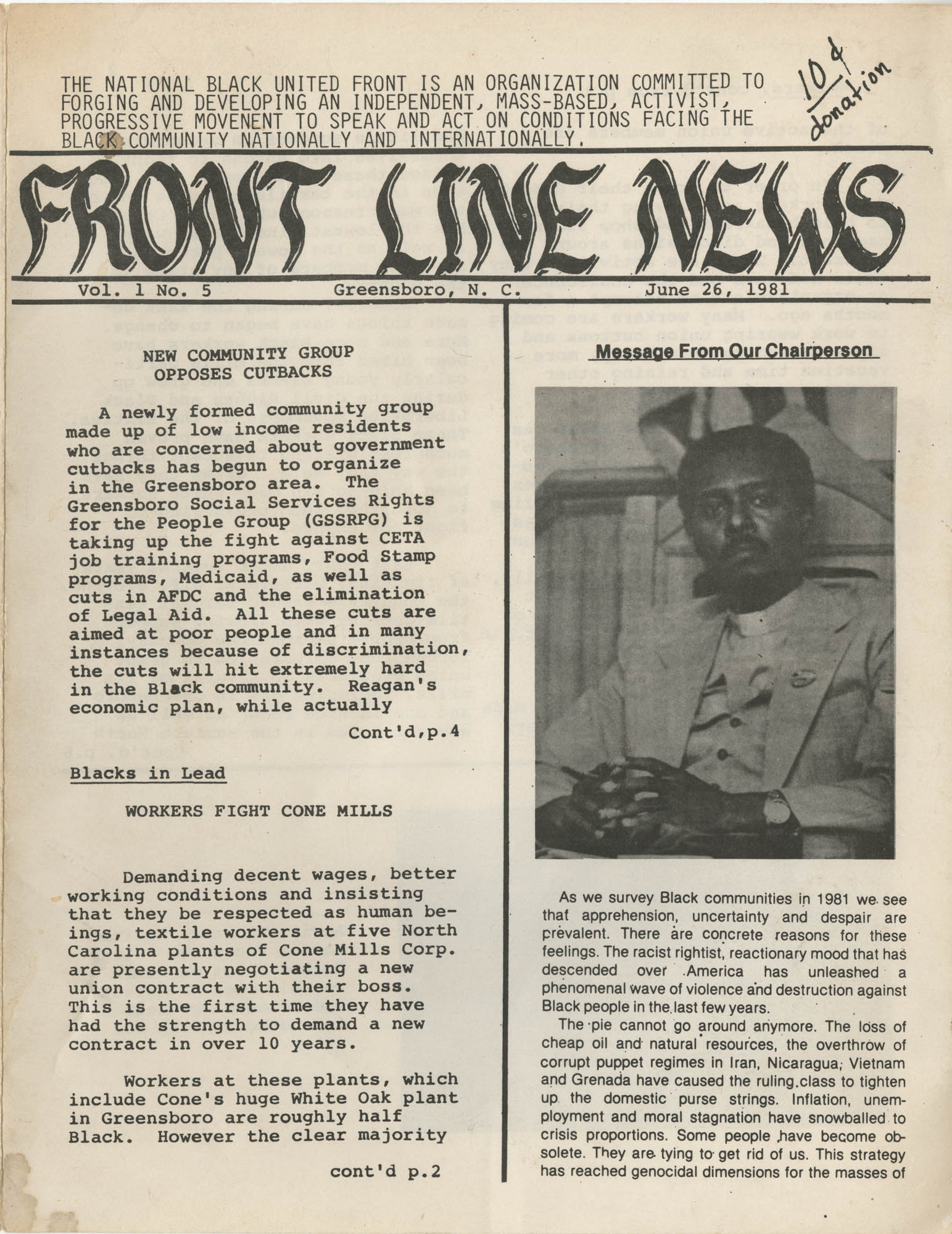 Front Line News, Vol. 1, No. 5