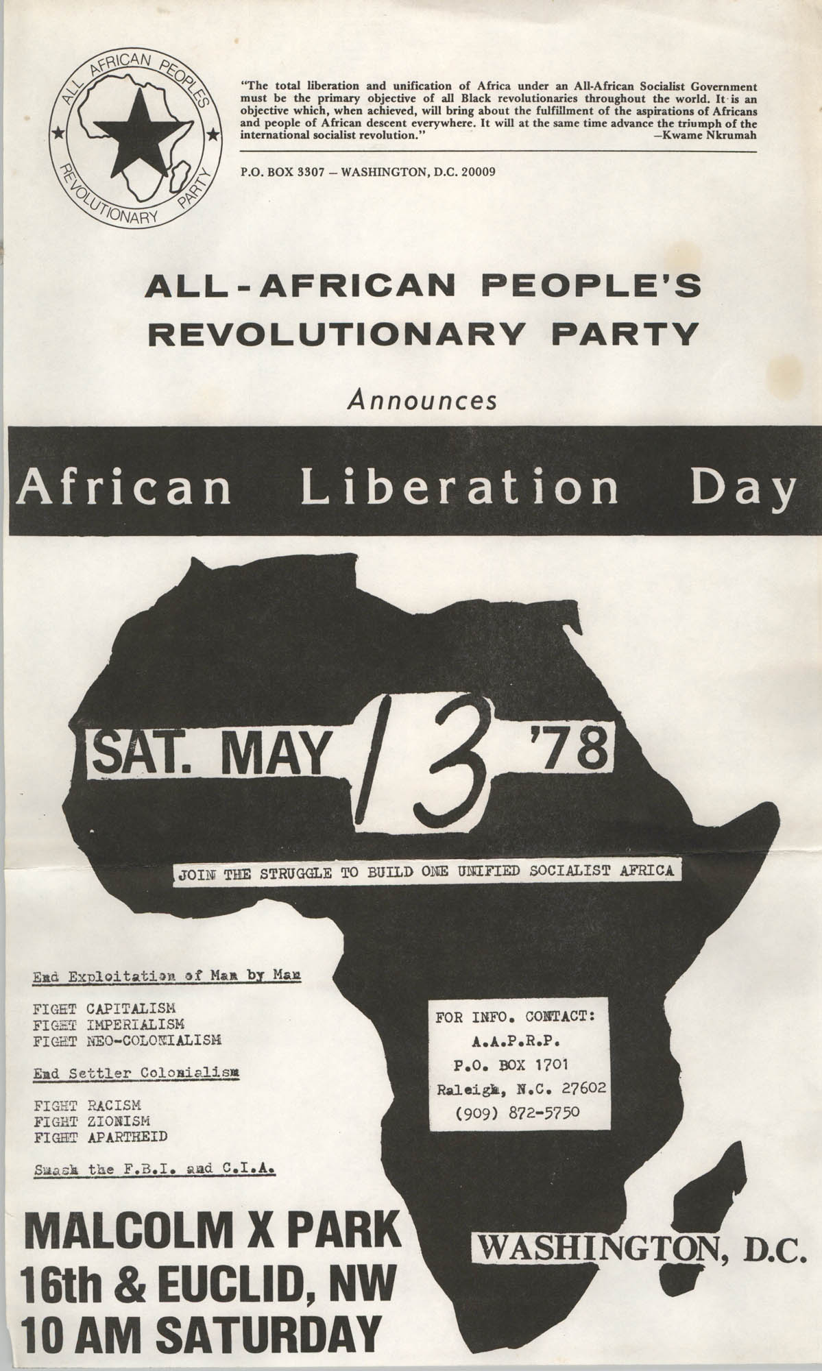 African Liberation Day 1978 Flyer
