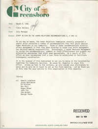 City of Greensboro Memorandum, March 9, 1981