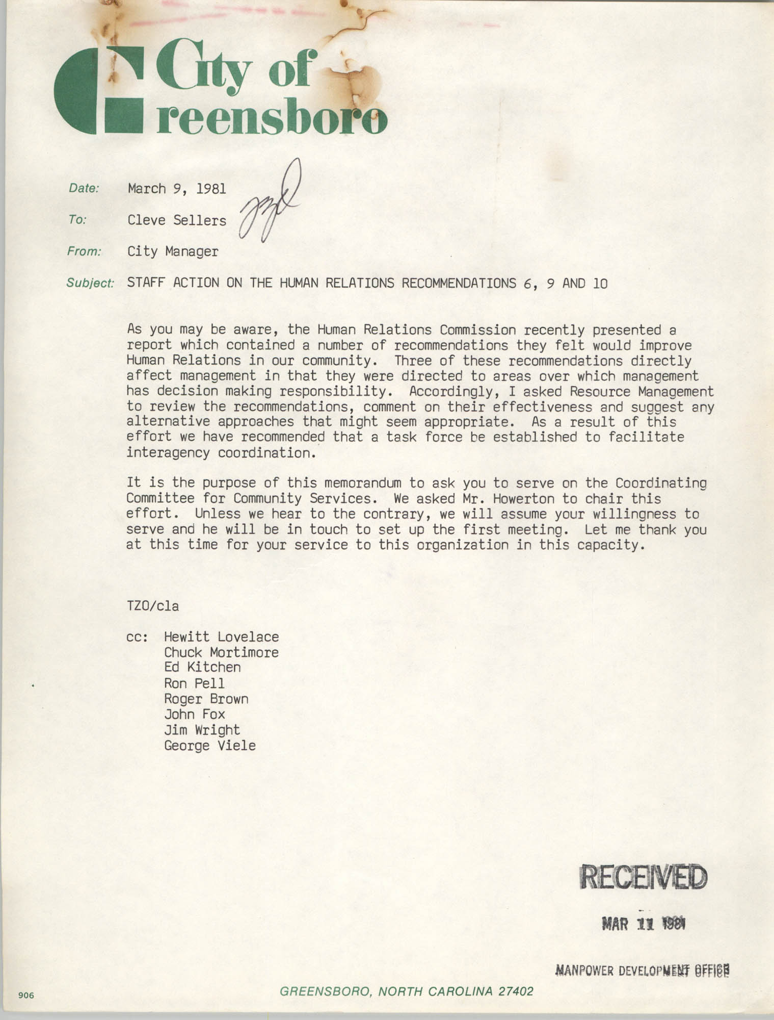 City of Greensboro Memorandum, March 9, 1981