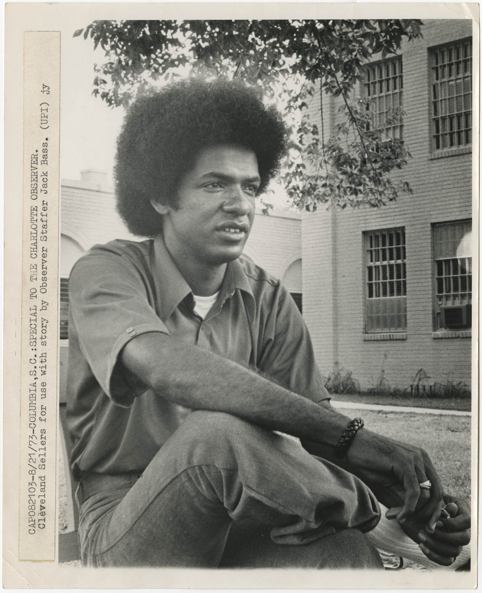 Photograph of Cleveland Sellers Seated Outdoors