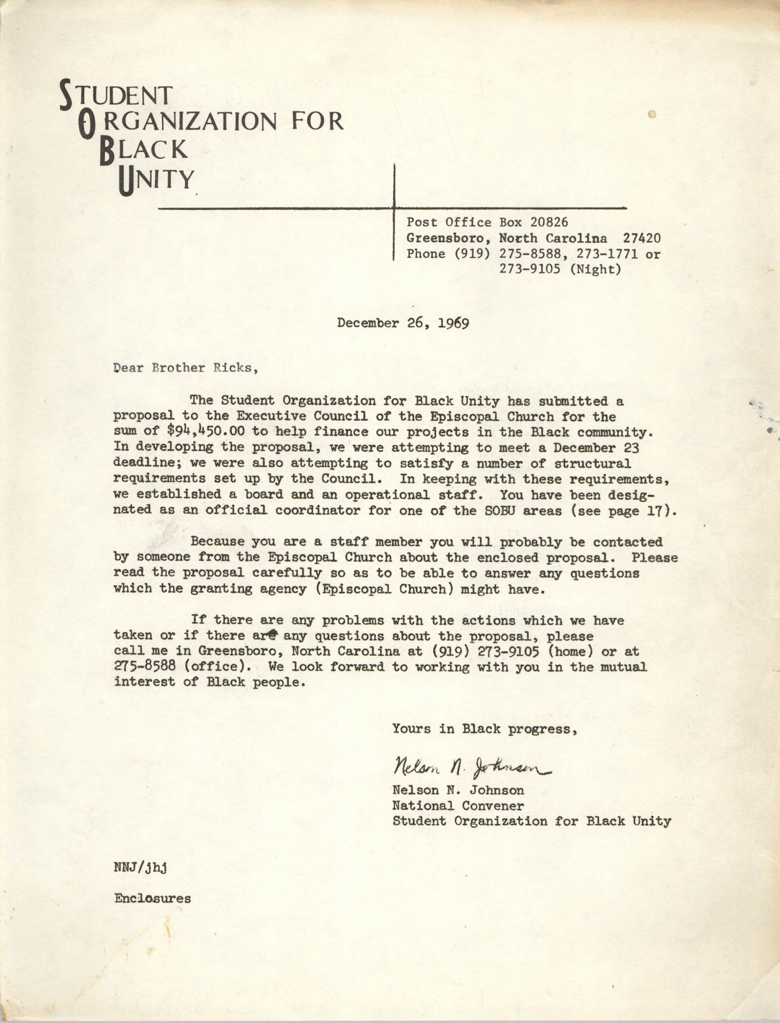 Letter from Nelson N. Johnson, December 26, 1969