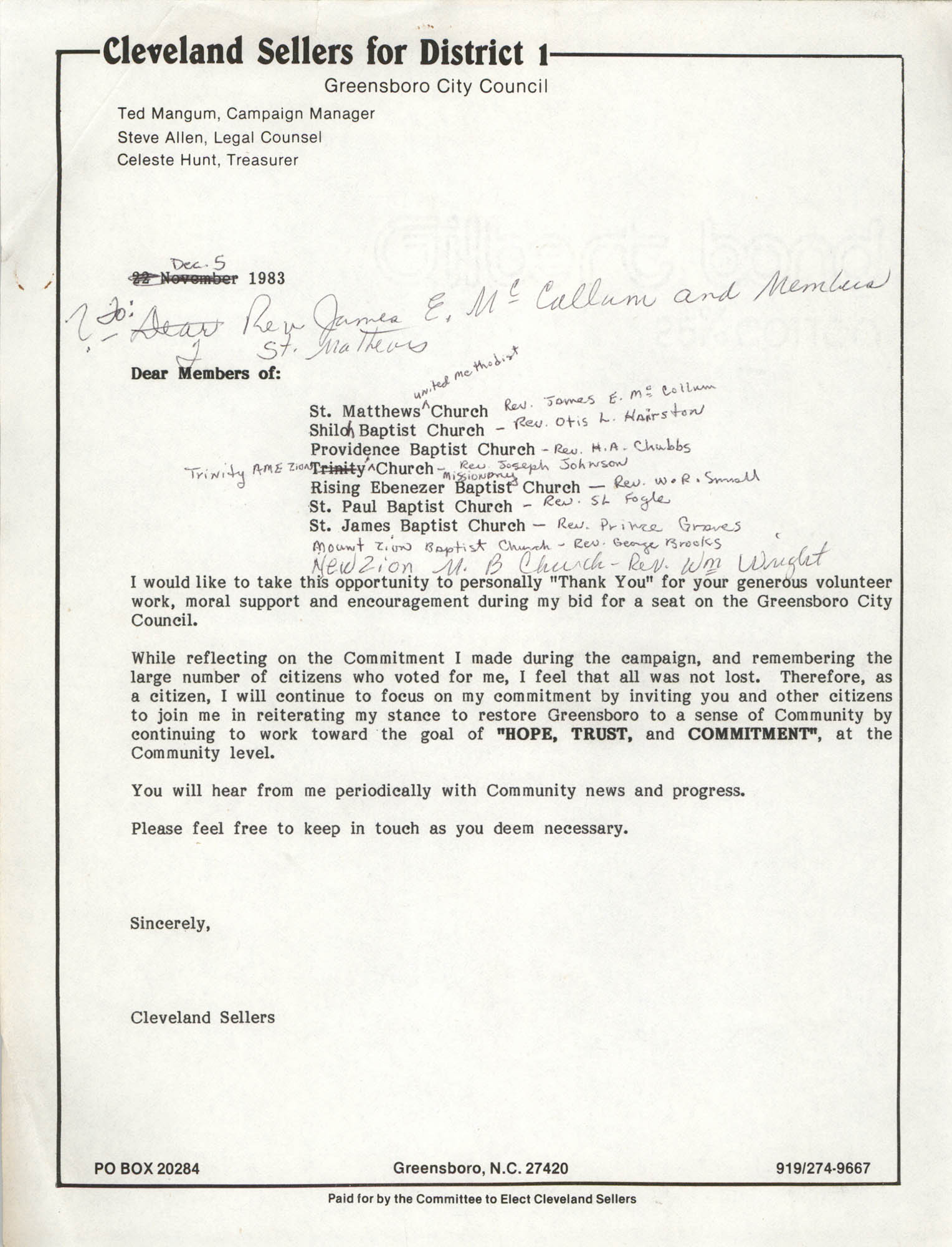 Letter from Cleveland Sellers to Church Members, November 22, 1983