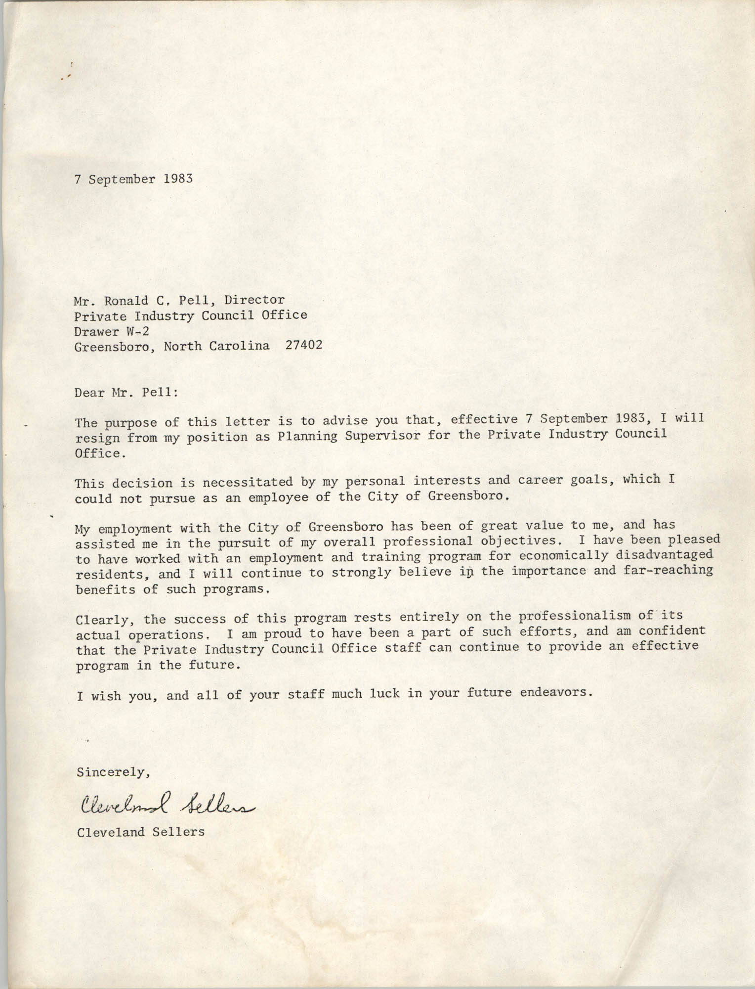 Letter from Cleveland Sellers to Ronald C. Pell, September 7, 1983