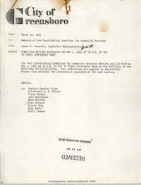 City of Greensboro Memorandum, April 14, 1981