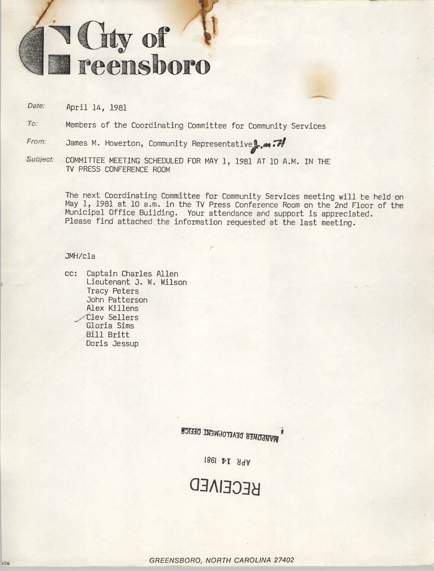 City of Greensboro Memorandum, April 14, 1981
