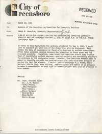 City of Greensboro Memorandum, July 7, 1981