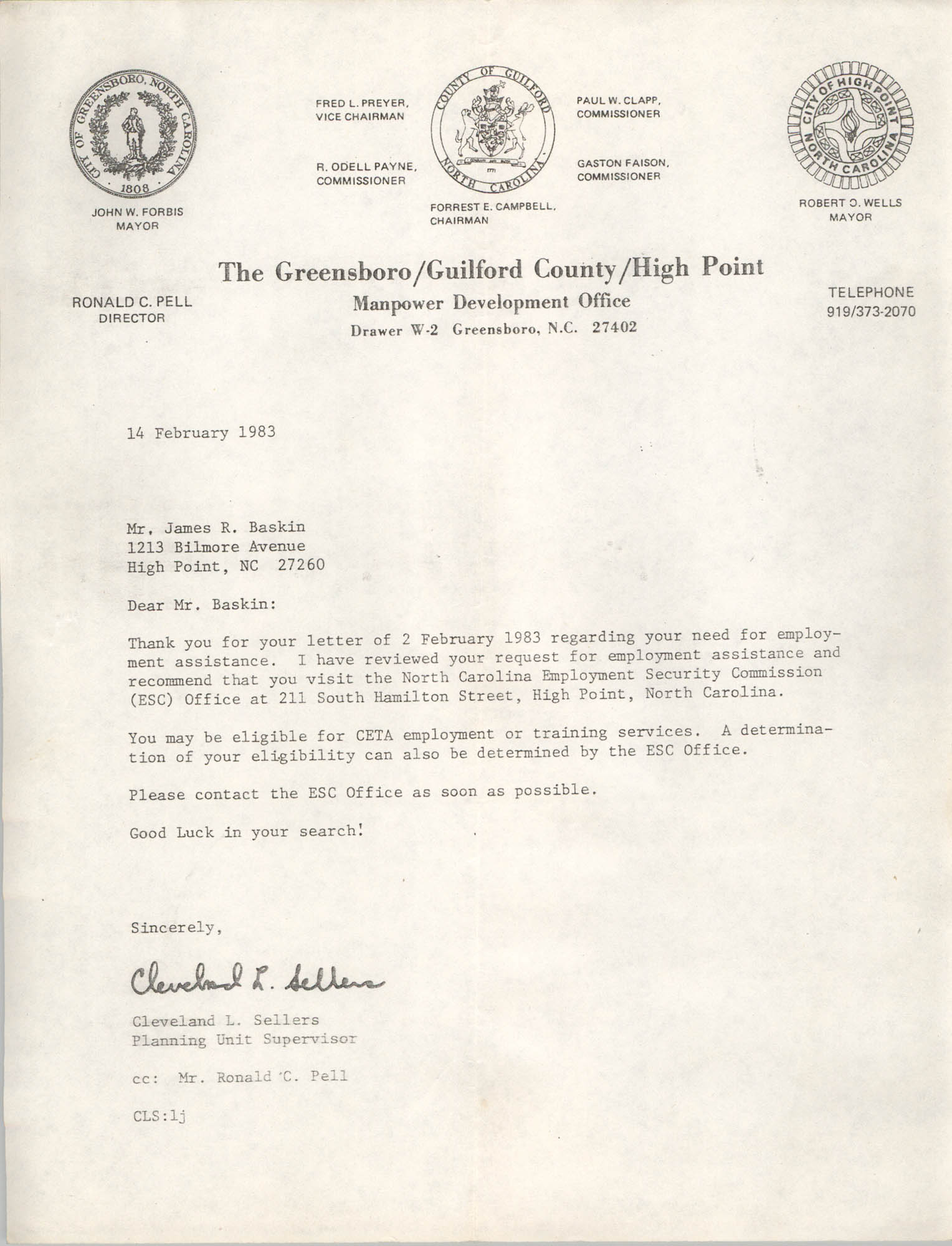 Letter from Cleveland Sellers to James R. Baskin, February 14, 1983
