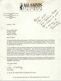 Letter from Ann Walling to Cleveland Sellers, February 3, 1998