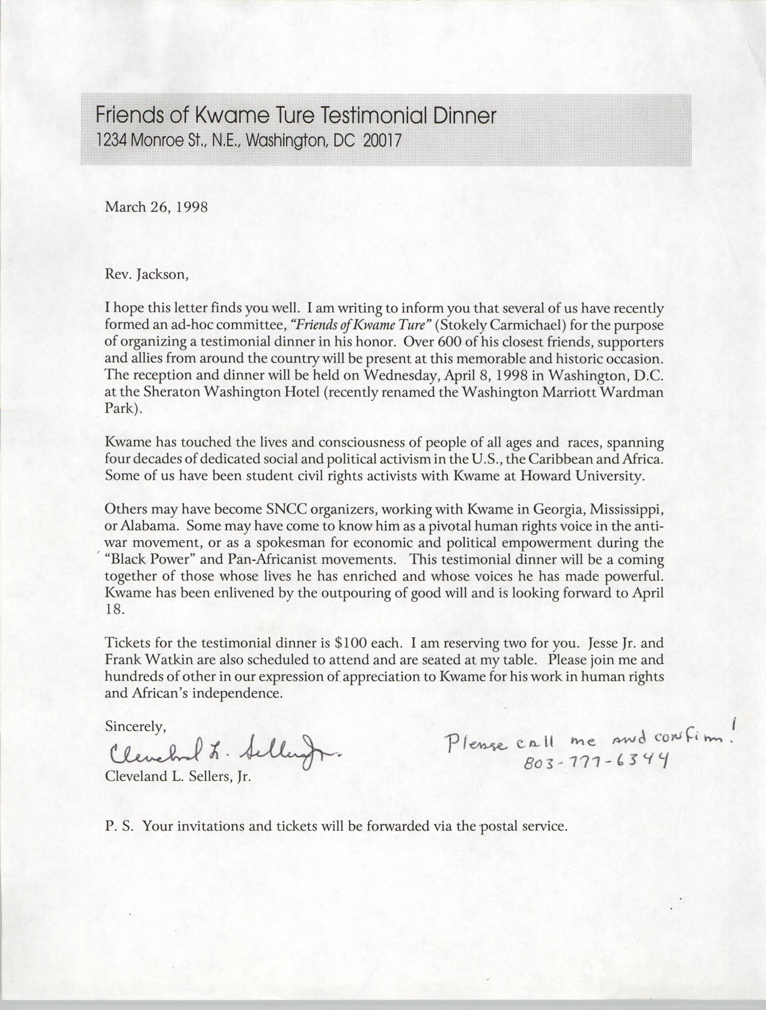 Letter from Cleveland Sellers to Jesse Jackson, March 26, 1998