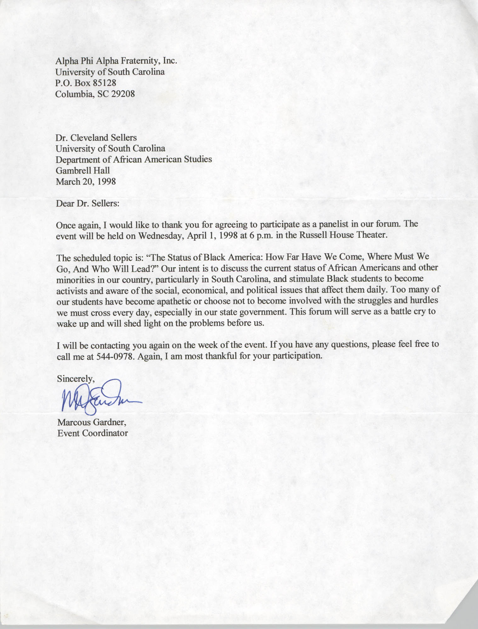 Letter from Marcous Gardner to Cleveland Sellers, March 20, 1998
