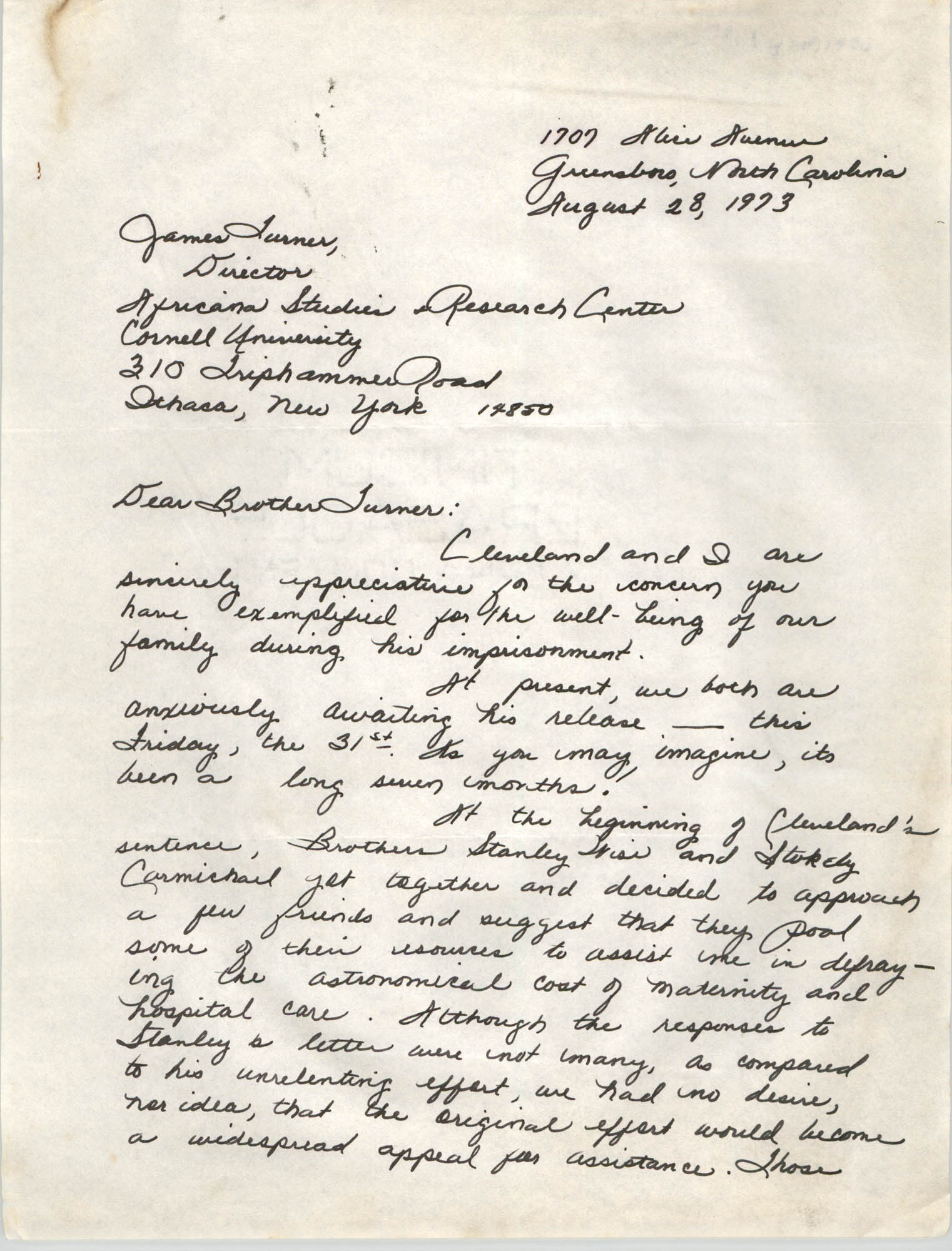 Letter from Gwendolyn Sellers to James Turner, August 28, 1973