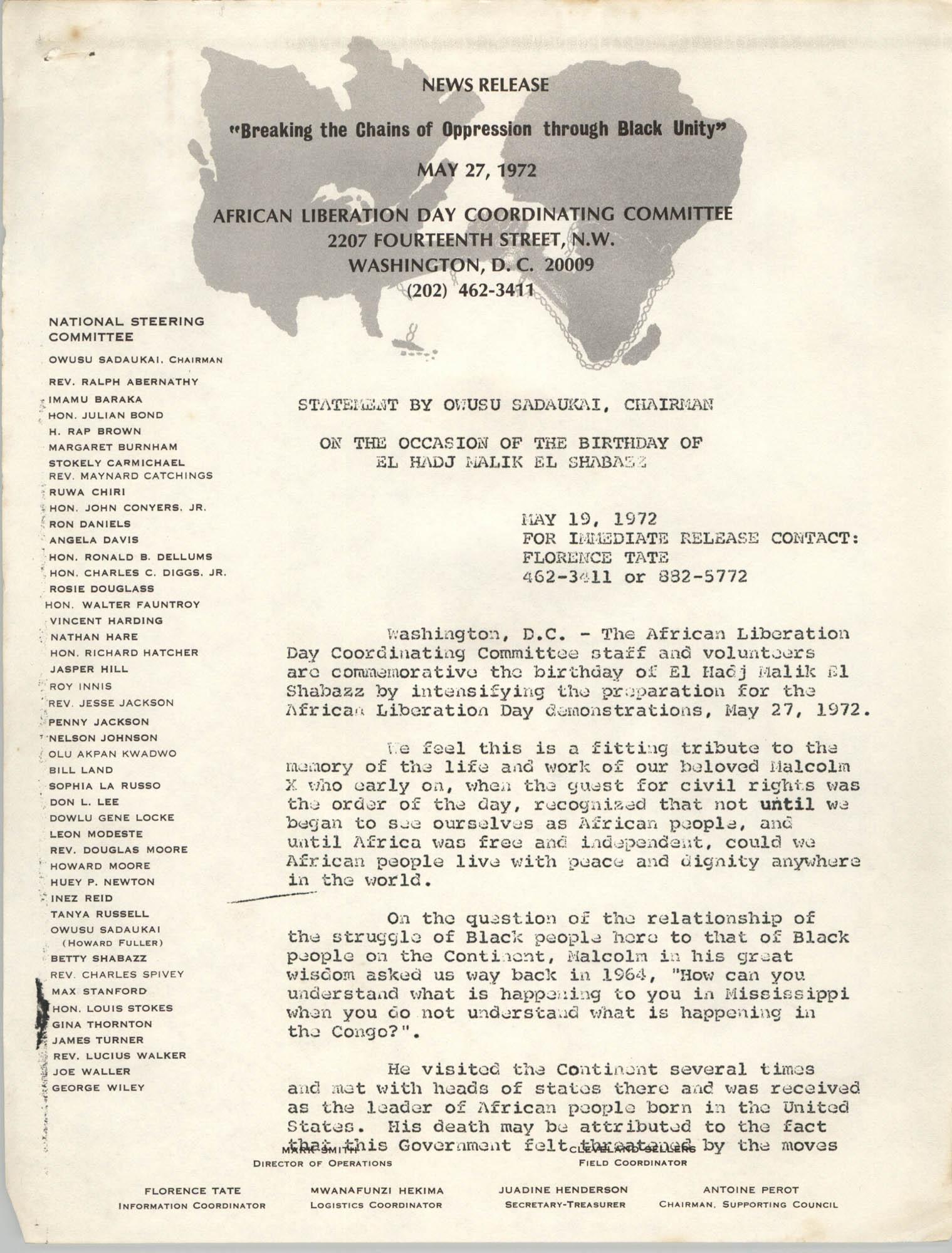 Press Release On the Occasion of the Birthday of El Hadj Malik El Shabazz, May 27, 1972