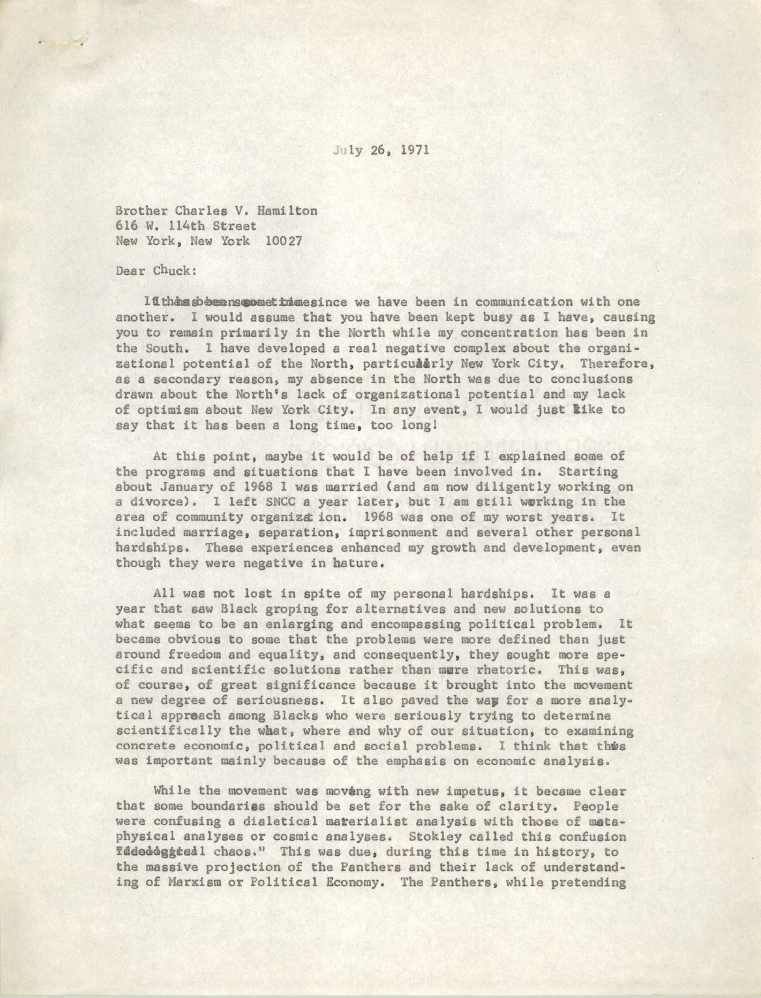 Letter from Cleveland Sellers to Charles V. Hamilton, July 26, 1971