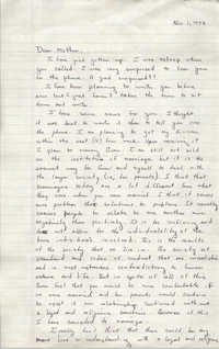 Letter from Cleveland Sellers to Pauline Taggert Sellers, November 1, 1972