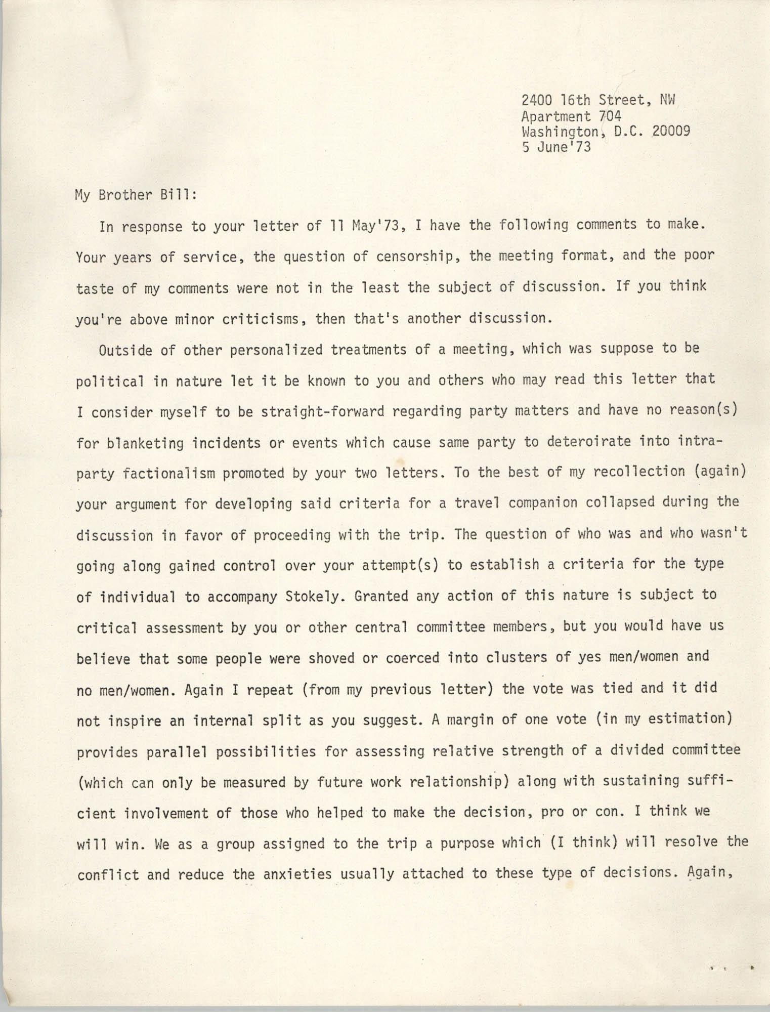 Letter from Jan Bailey, June 5, 1973