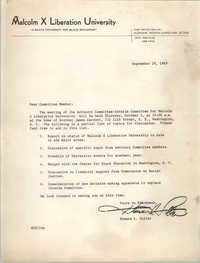 Malcolm X Liberation University Memorandum, September 29, 1969