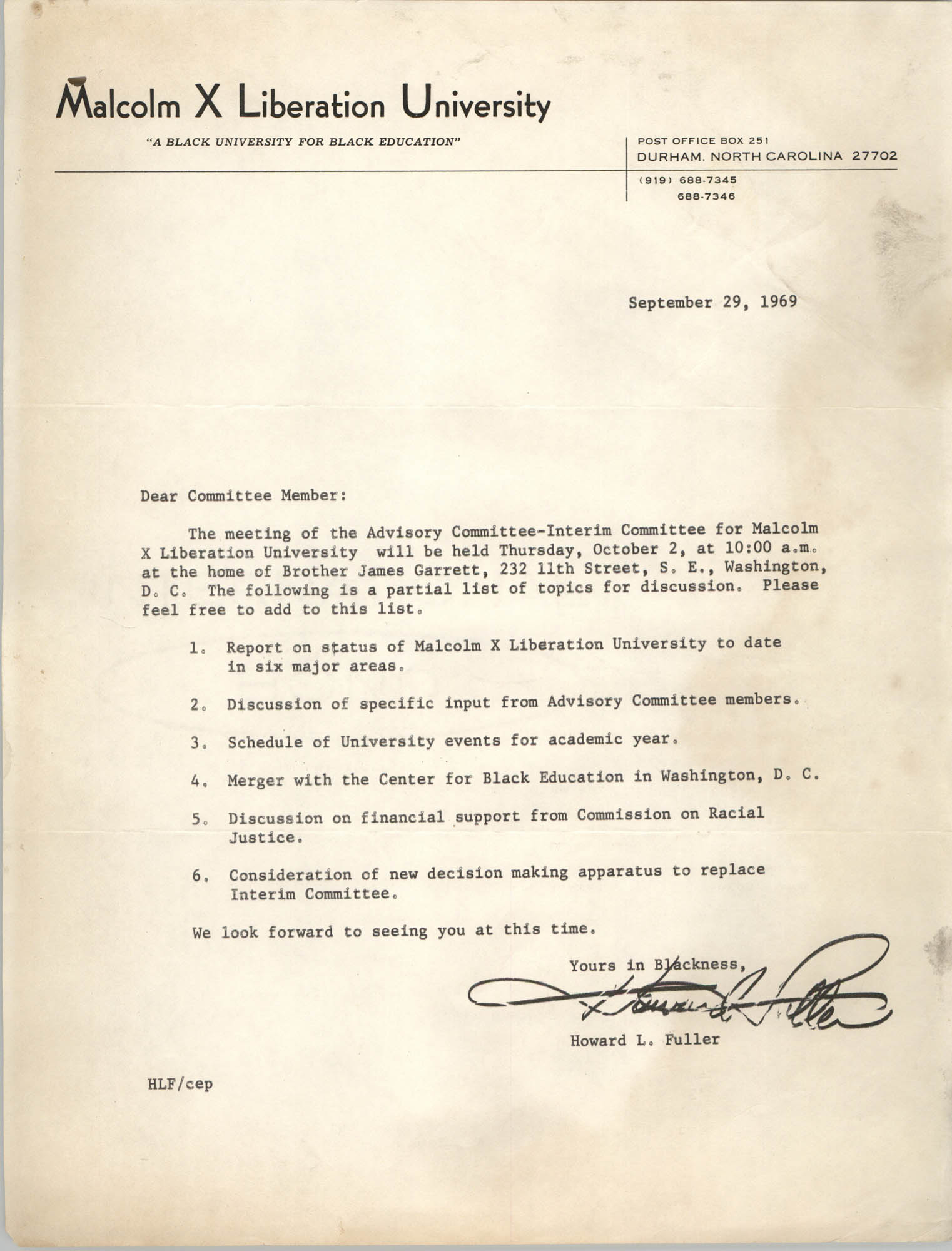 Malcolm X Liberation University Memorandum, September 29, 1969