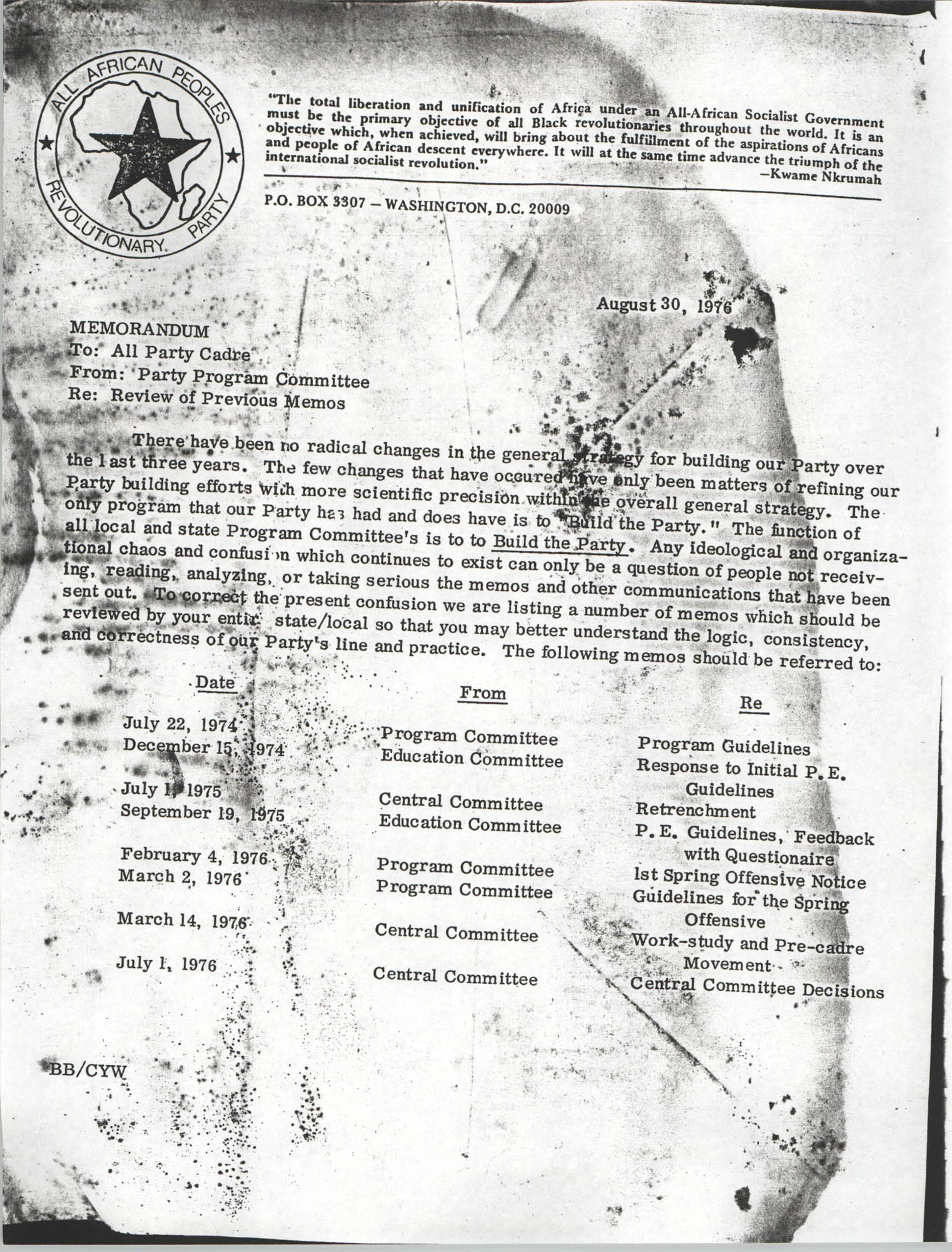 All African People's Revolutionary Party Memorandum, August 30, 1976