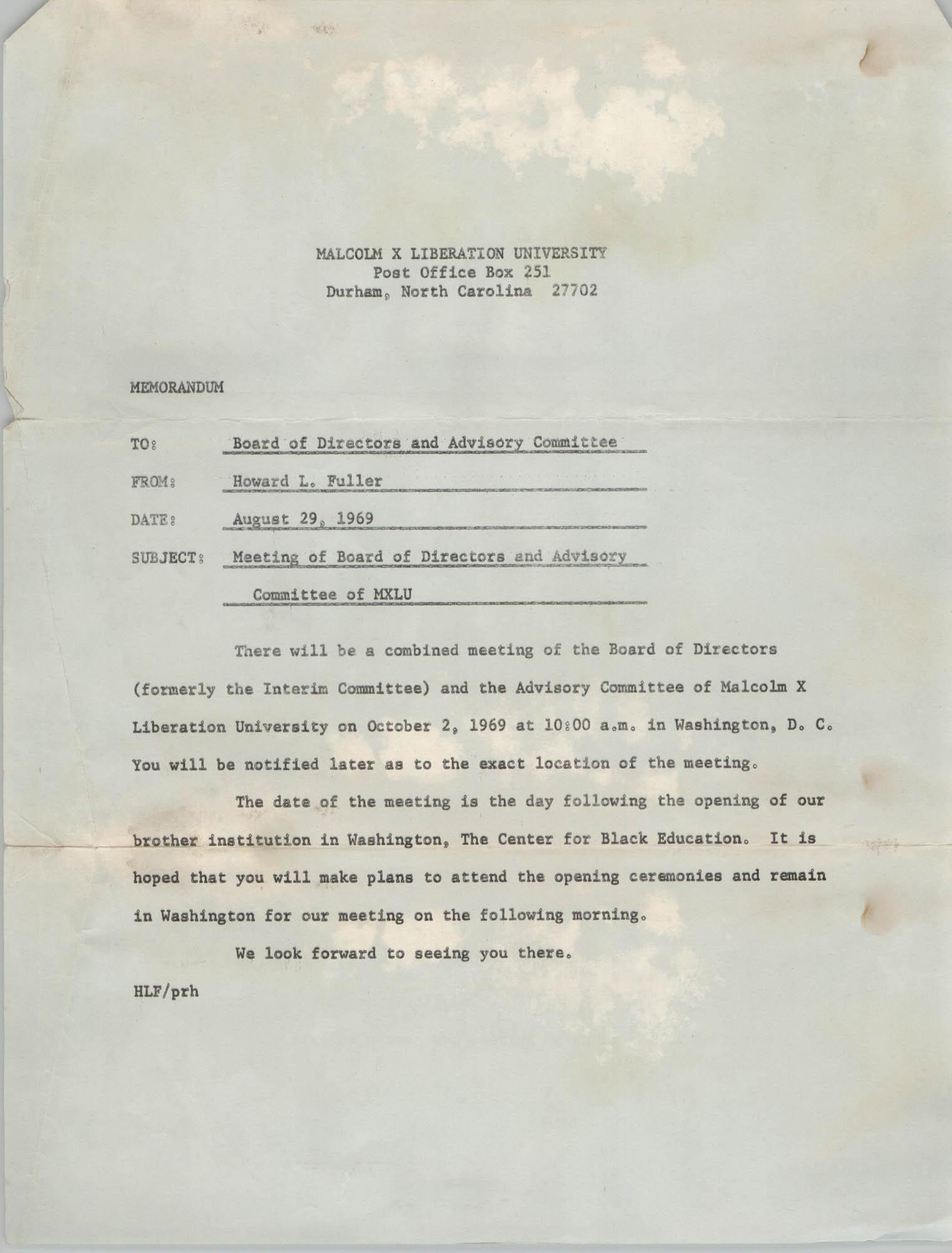 Malcolm X Liberation University Memorandum, August 29, 1969