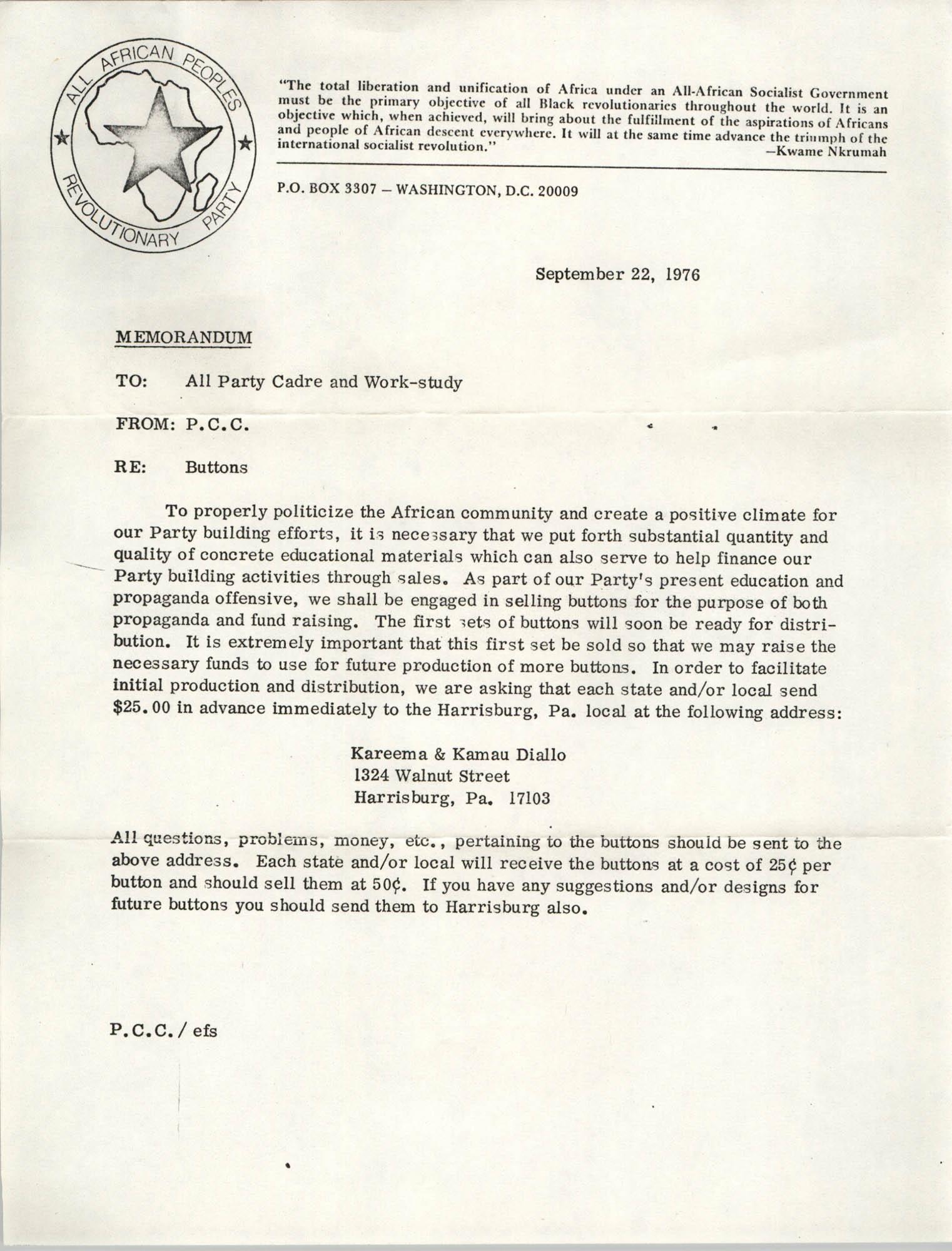 All African People's Revolutionary Party Memorandum, September 22, 1976