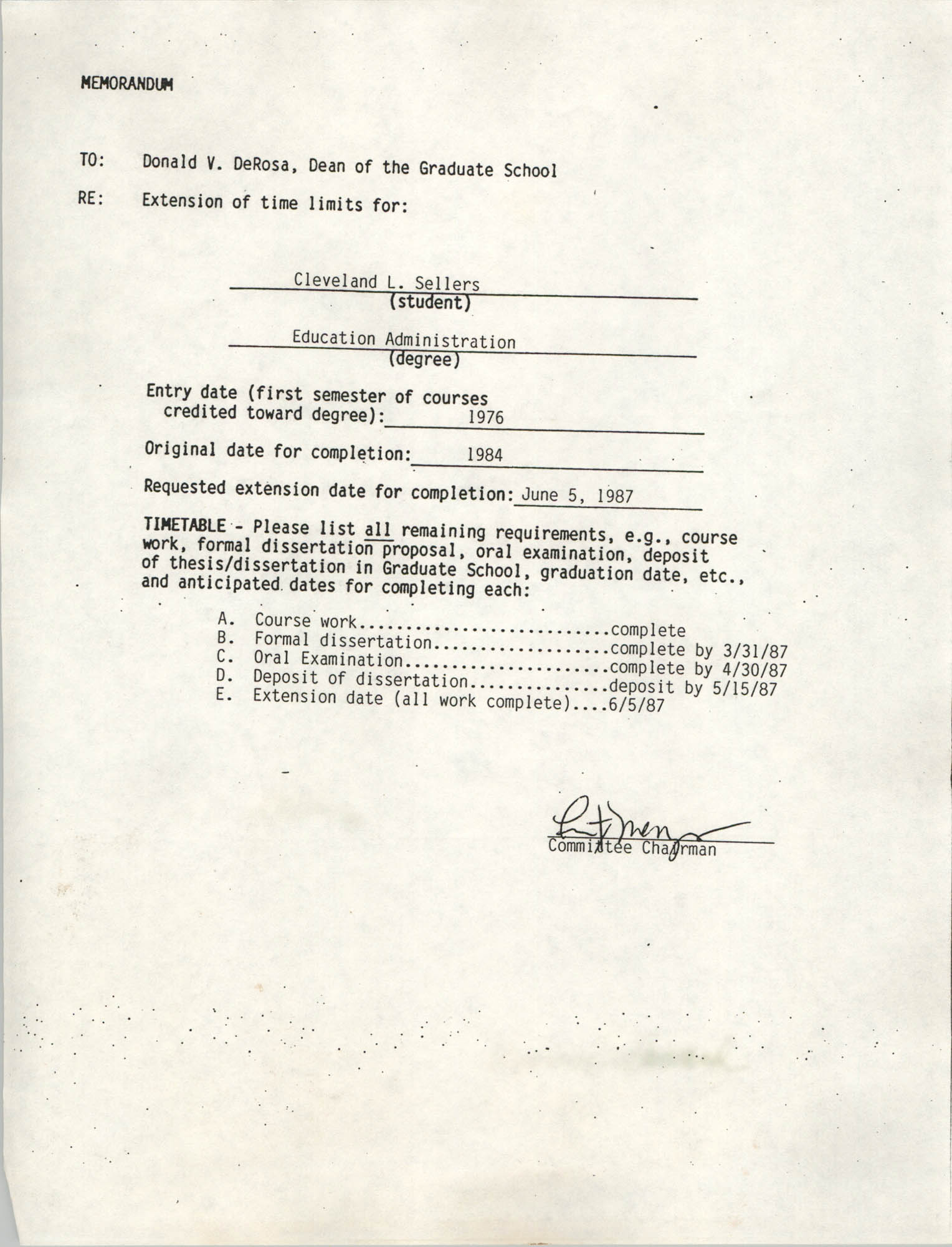 Memorandum to Donald V. DeRosa, June 5, 1987