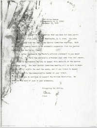 Letter from Cleveland Sellers to Steve Farrow, December 19, 1975