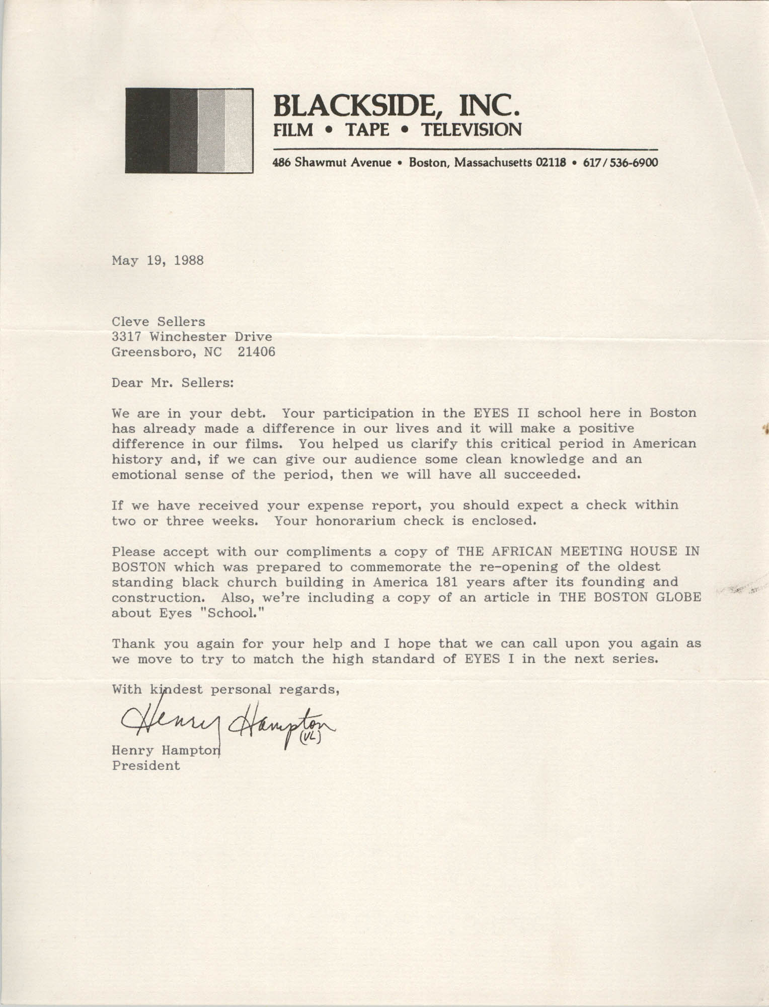 Letter from Henry Hampton to Cleveland Sellers, May 19, 1988