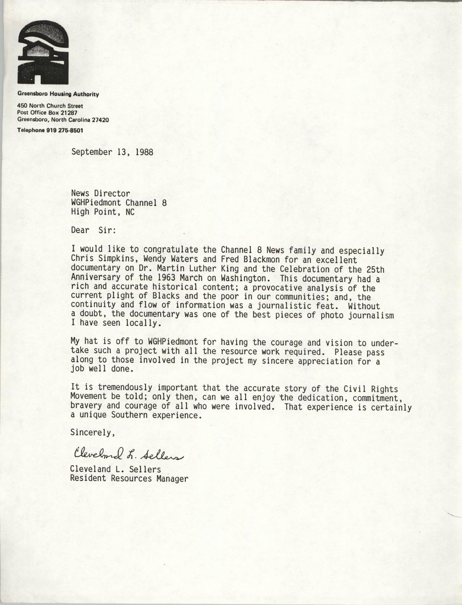 Letter from Cleveland Sellers, September 13, 1988