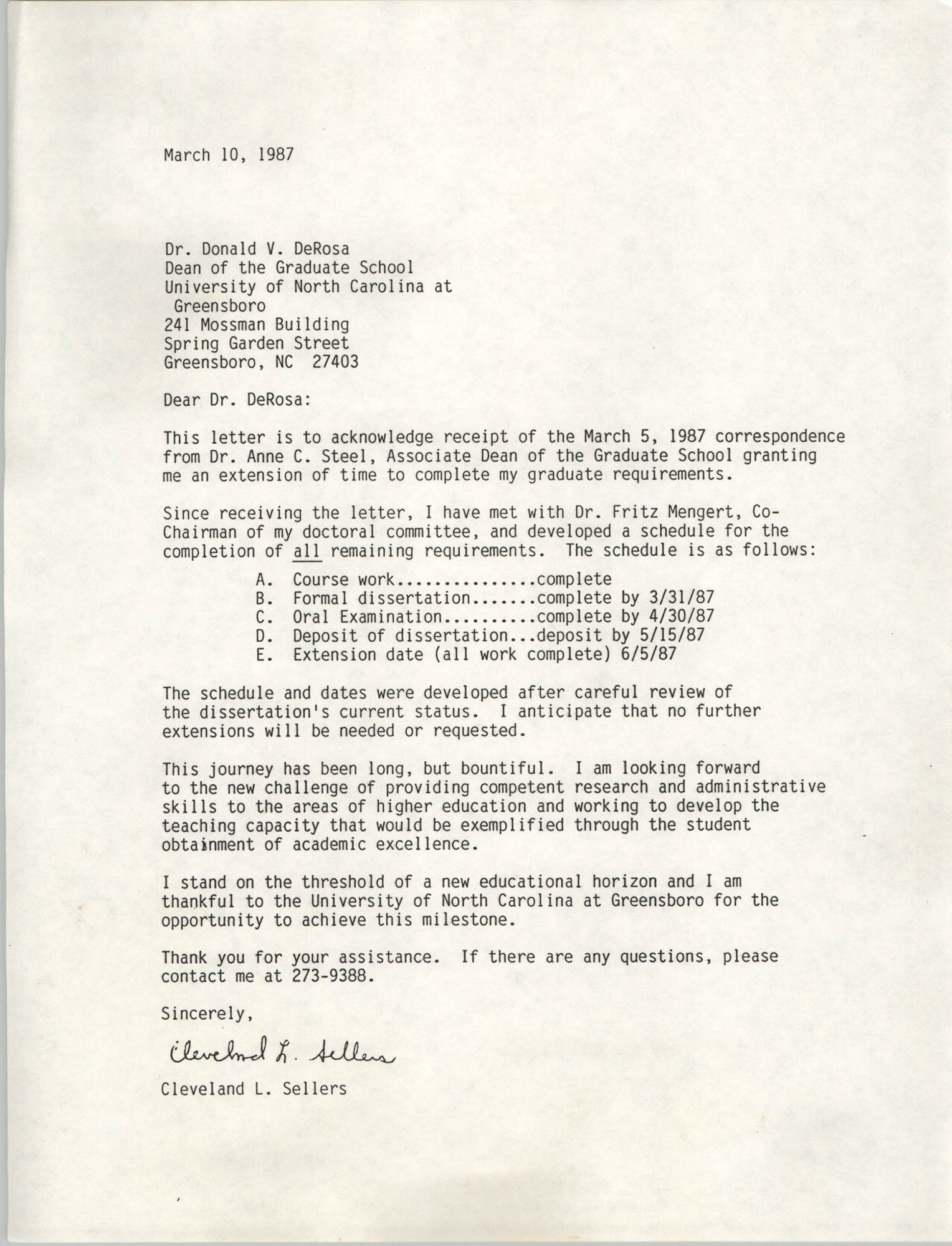 Letter from Cleveland Sellers to Donald V. DeRosa, March 10, 1987