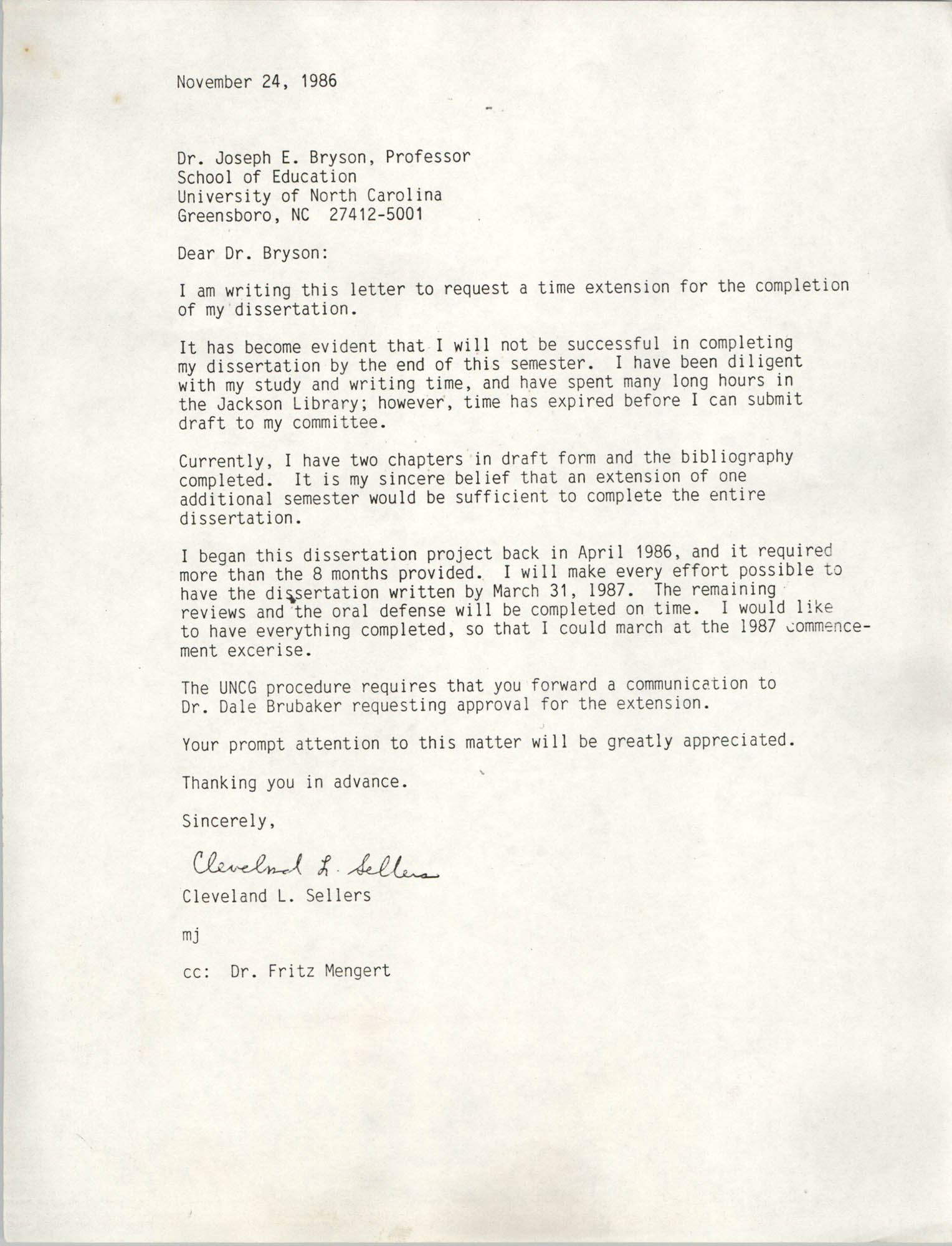 Letter from Cleveland Sellers to Joseph E. Bryson, November 24, 1986