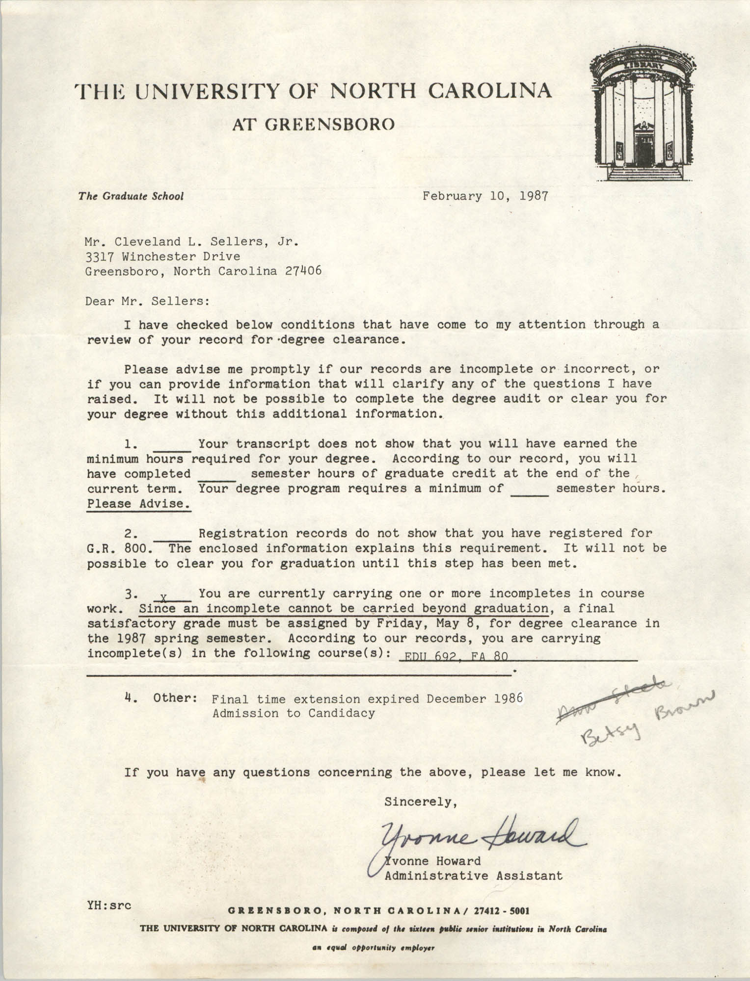 Letter from Yvonne Howard to Cleveland Sellers, February 10, 1987