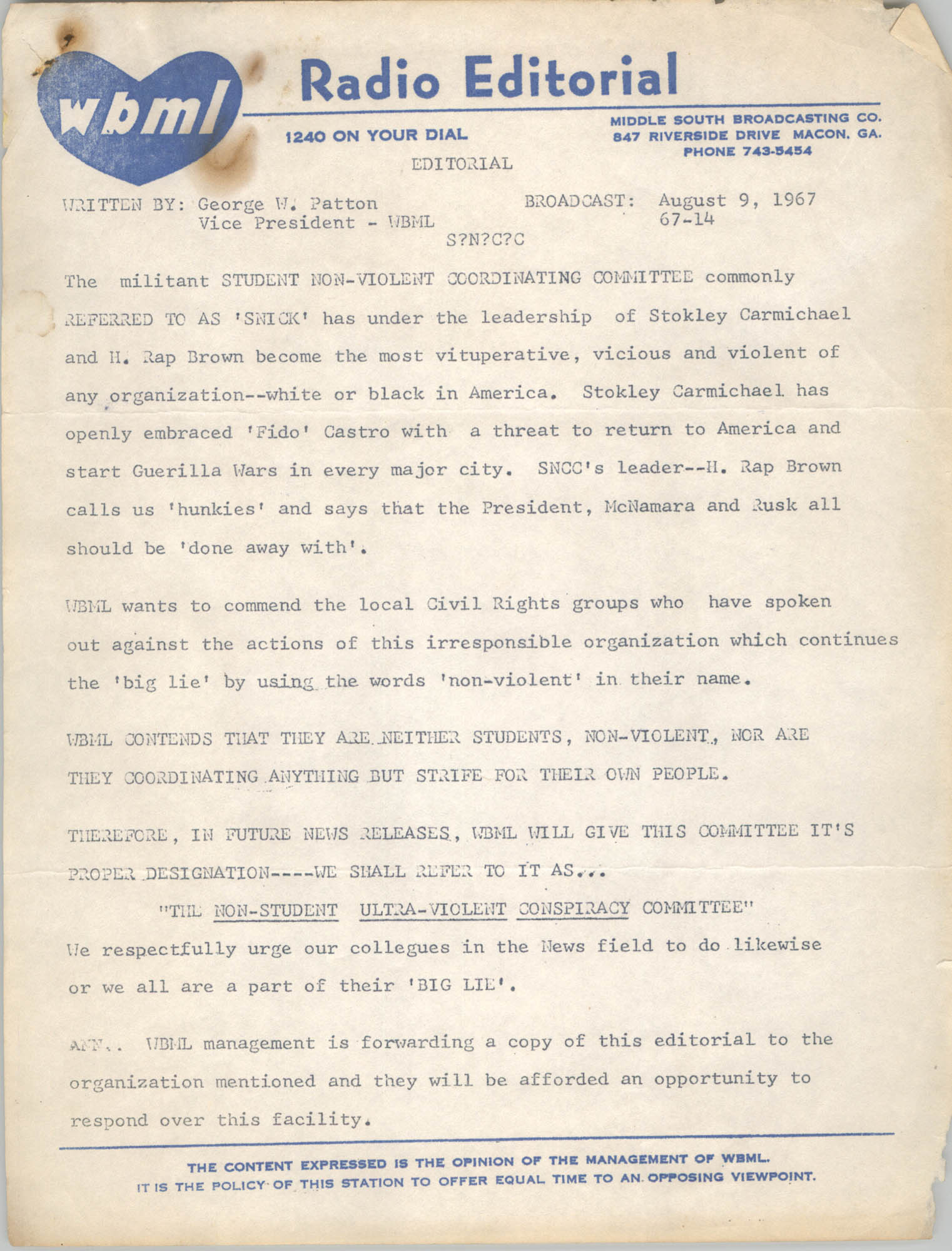 Correspondence from George W. Patton to Student Nonviolent Coordinating Committee, August 9, 1967