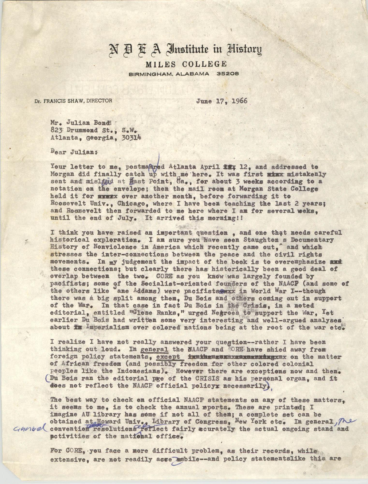 Letter August Meier to Julian Bond, June 17, 1966