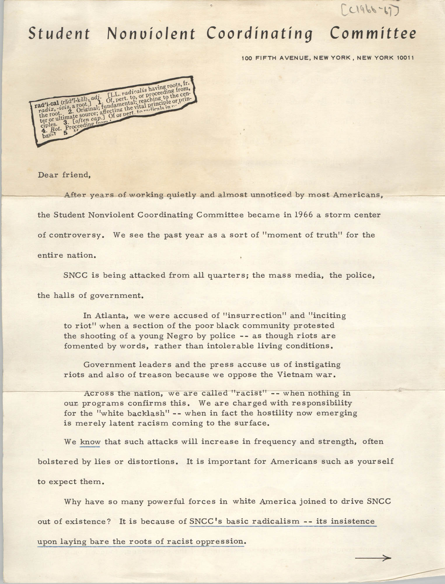 Letter from Stokely Carmichael to Friends of the Student Nonviolent Coordinating Committee, 1966