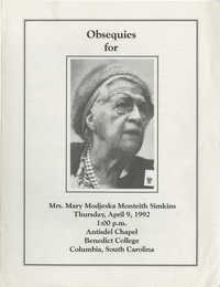 Obsequies for Mary Modjeska Monteith Simkins, April 9, 1992