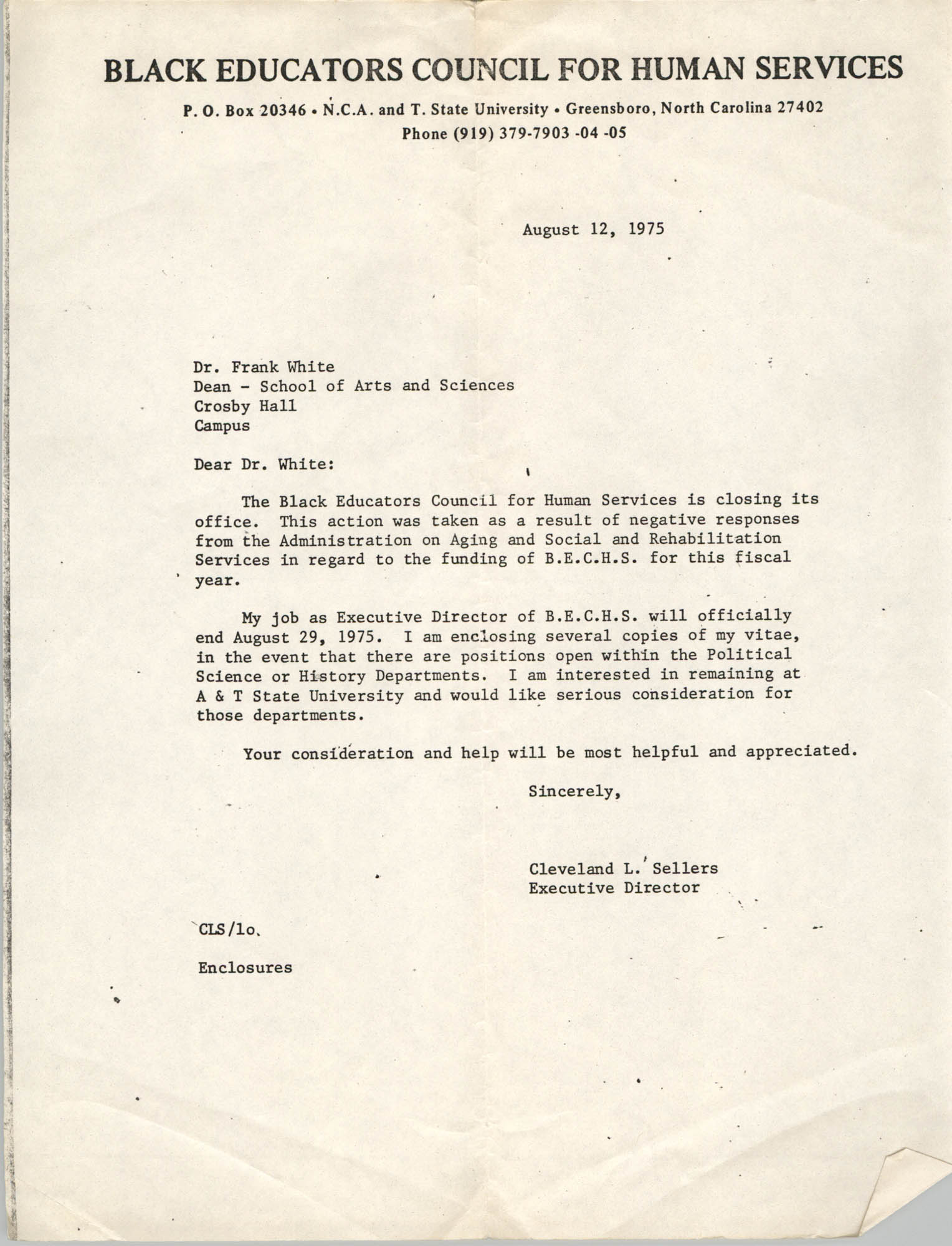 Letter from Cleveland Sellers to Frank White, August 12, 1975