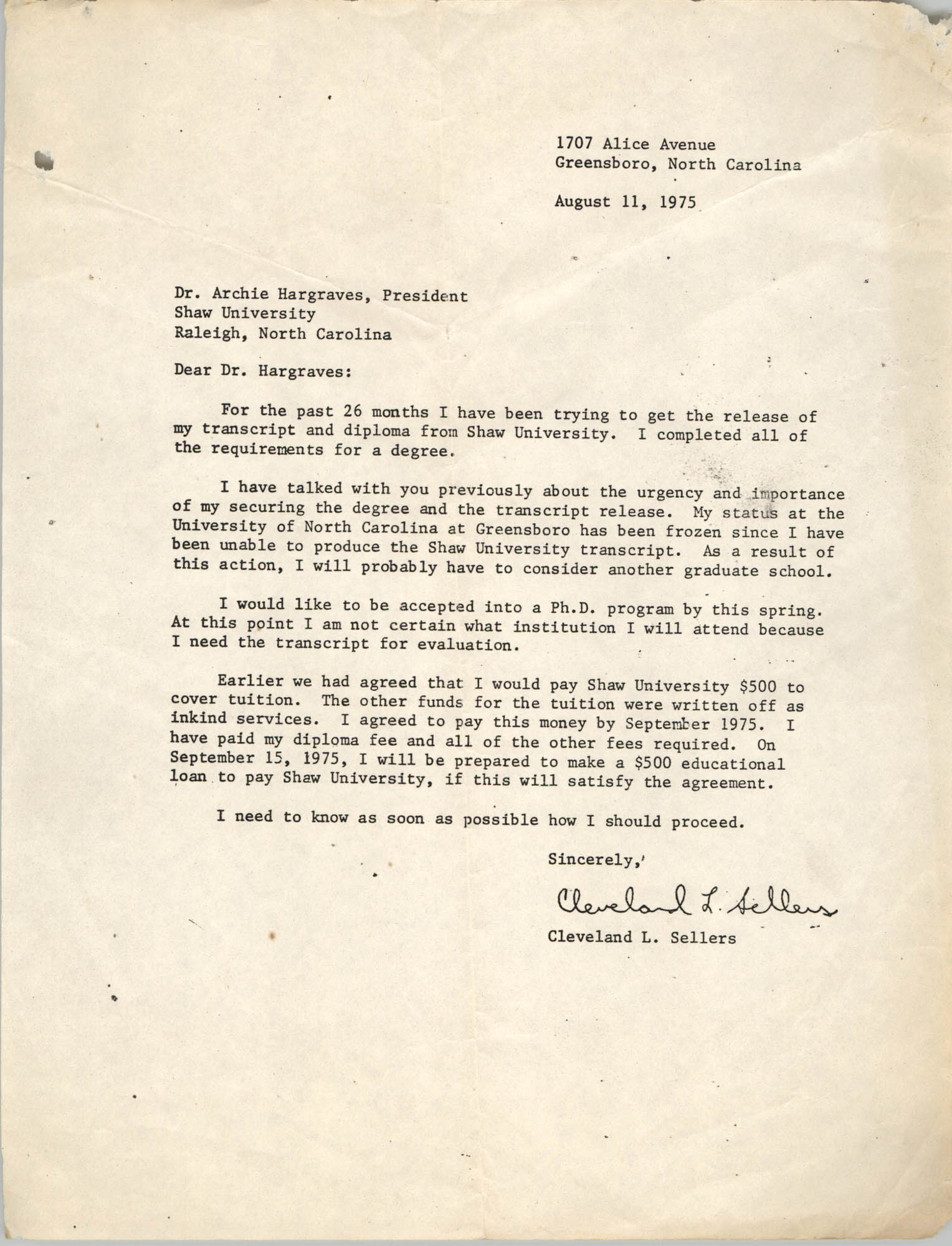 Letter from Cleveland Sellers to Archie Hargraves, August 11, 1975