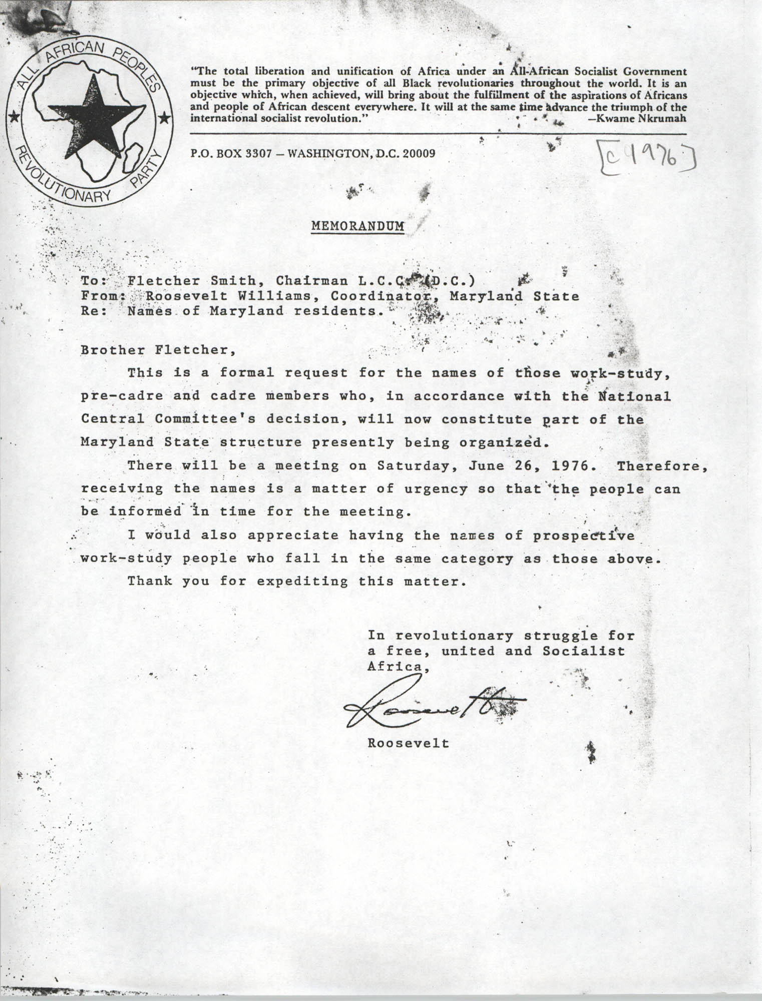 Memorandum from Roosevelt Williams to Fletcher Smith, 1976