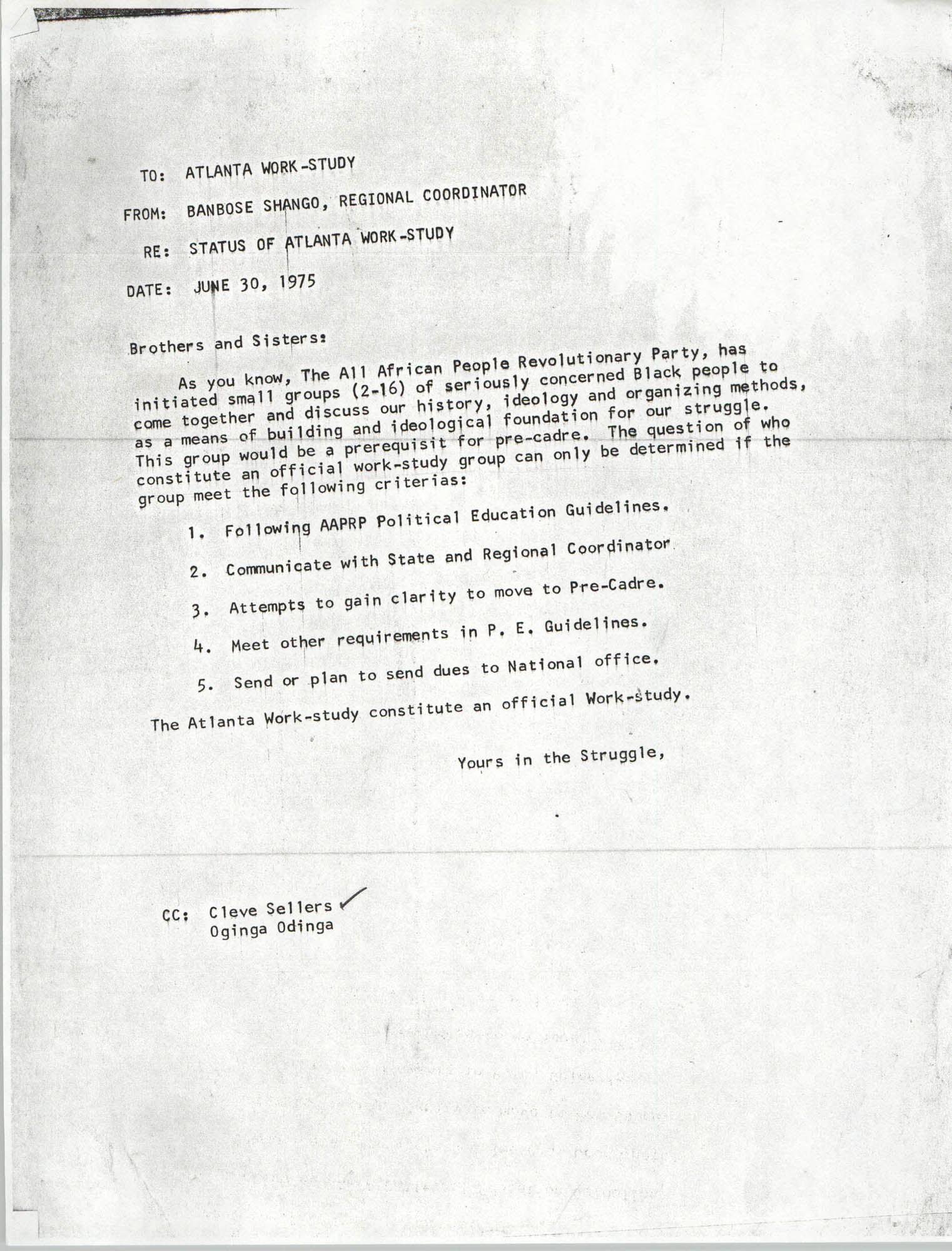 Memorandum from Banbose Shango, June 30, 1975