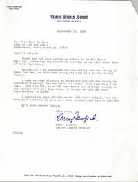 Letter from Terry Sanford to Cleveland Sellers, September 23, 1988