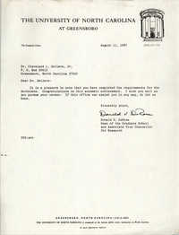 Letter from Donald V. DeRosa to Cleveland Sellers, August 11, 1987