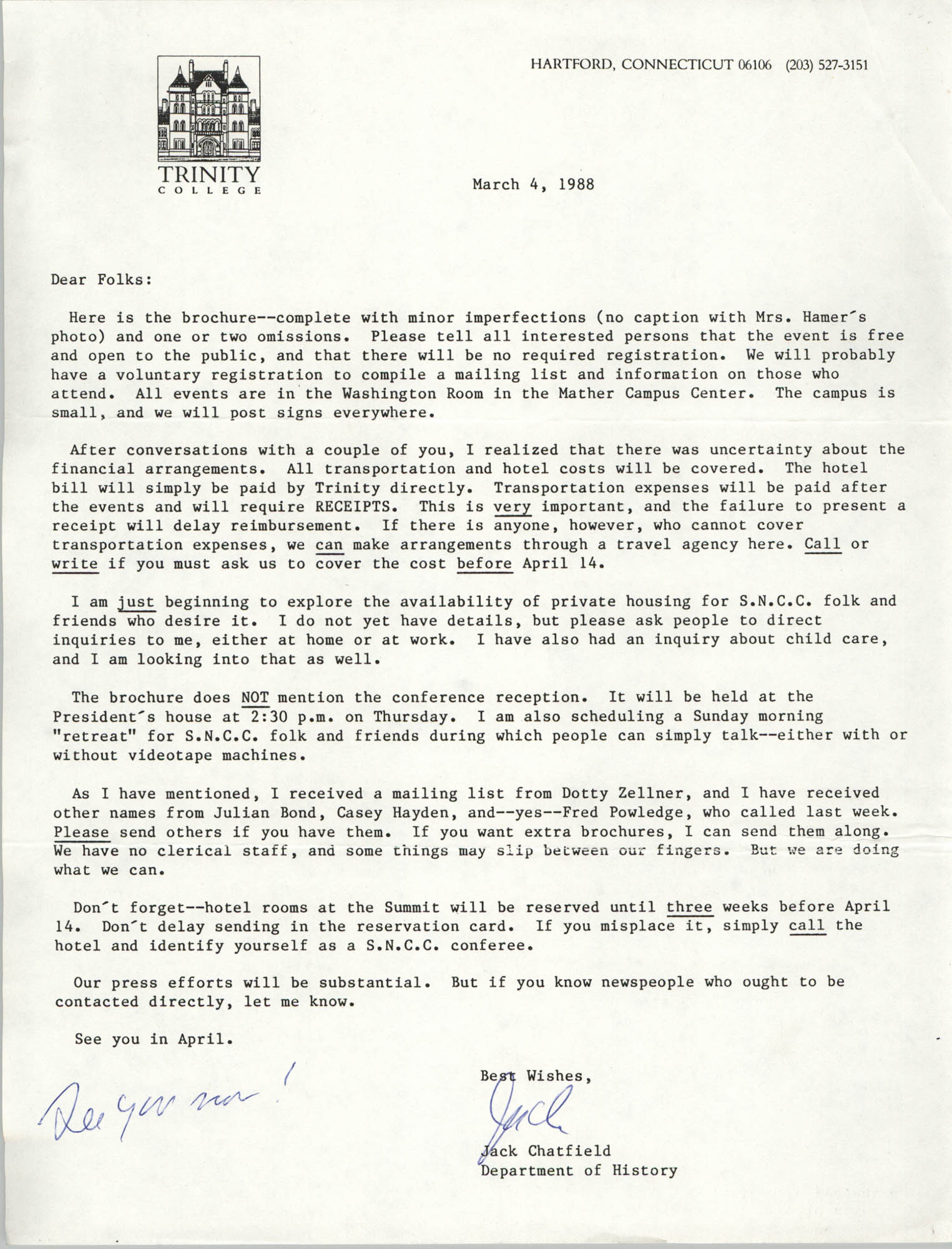 Letter from Jack Chatfield, March 4, 1988
