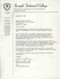 Letter from Susan Quick Phelps to Curtis E. Bryan, November 25, 1987