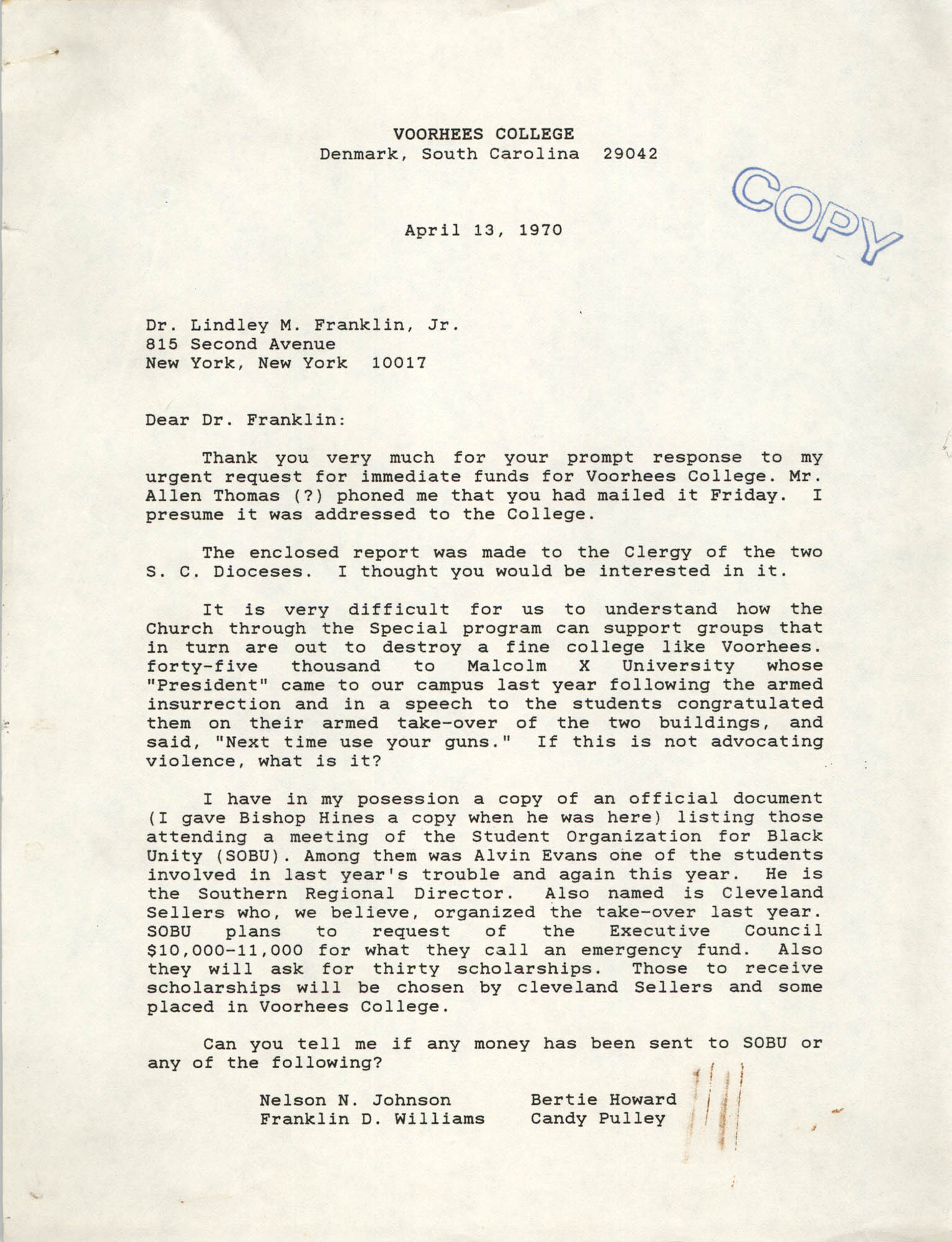 Letter from J. Kenneth Morris to Lindley M. Franklin, Jr., April 13, 1970