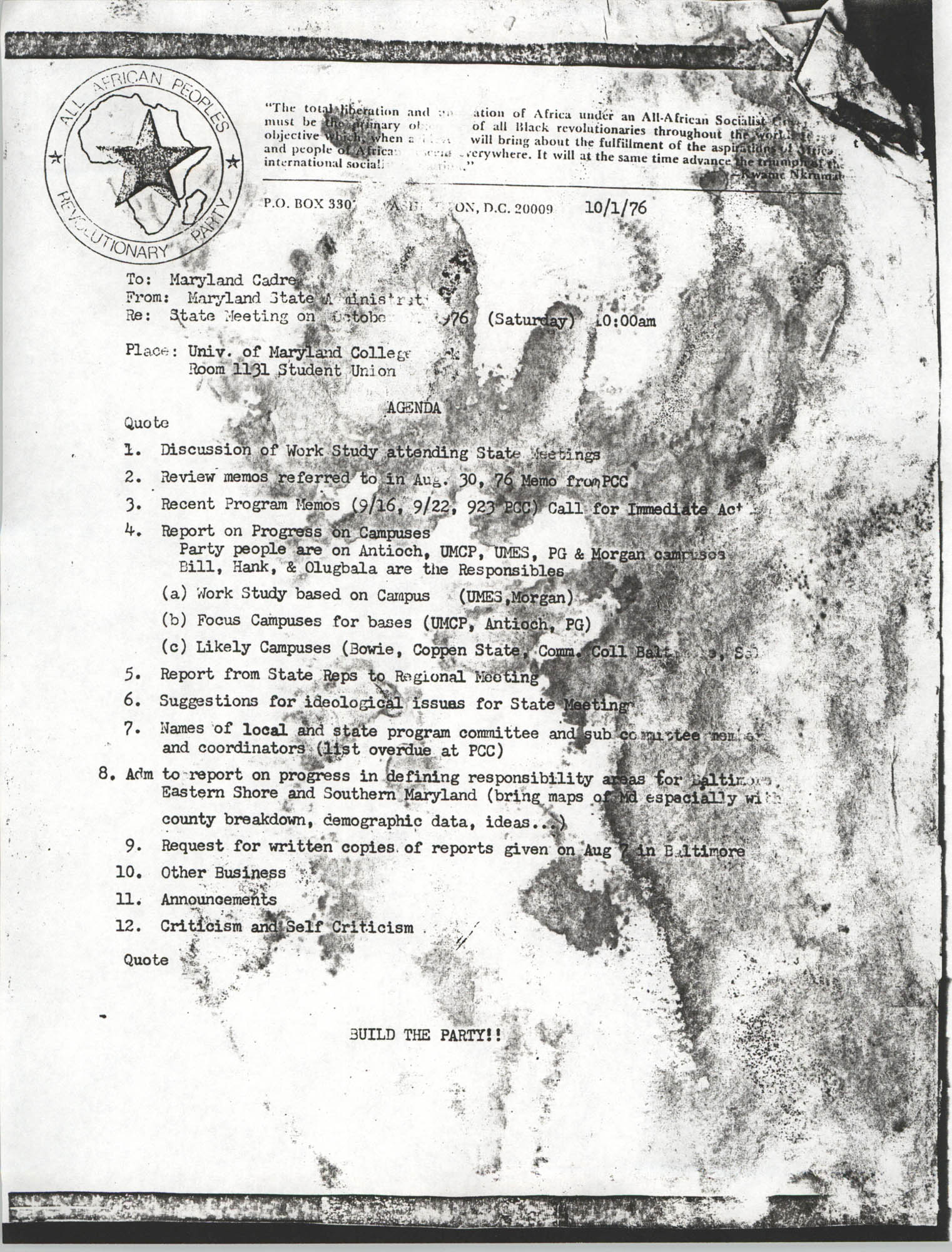 All African People's Revolutionary Party Memorandum, October 1, 1976
